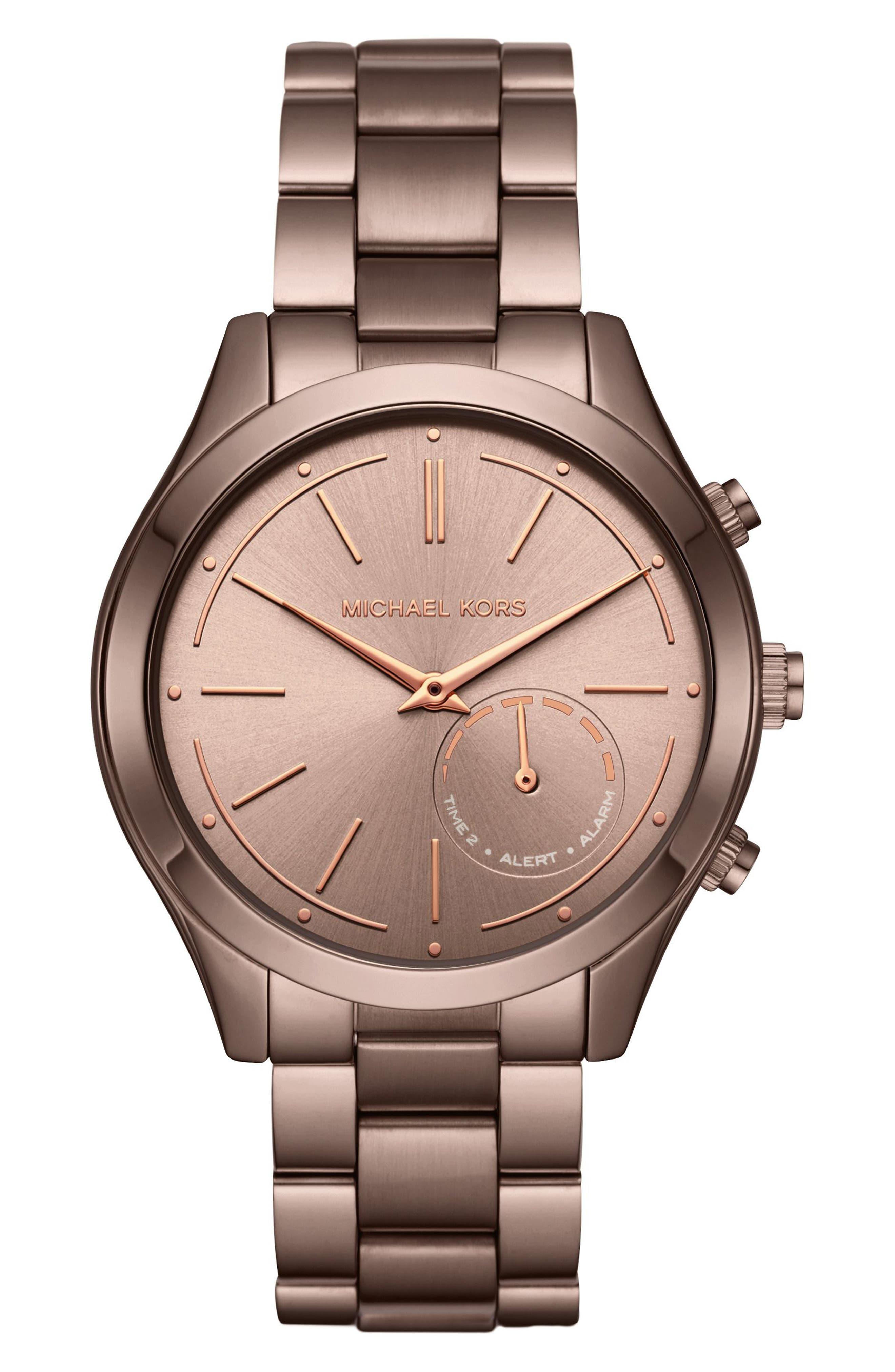 MICHAEL Michael Kors Slim Runway Smart Watch, 42mm,                         Main,                         color, Sable/ Rose Gold