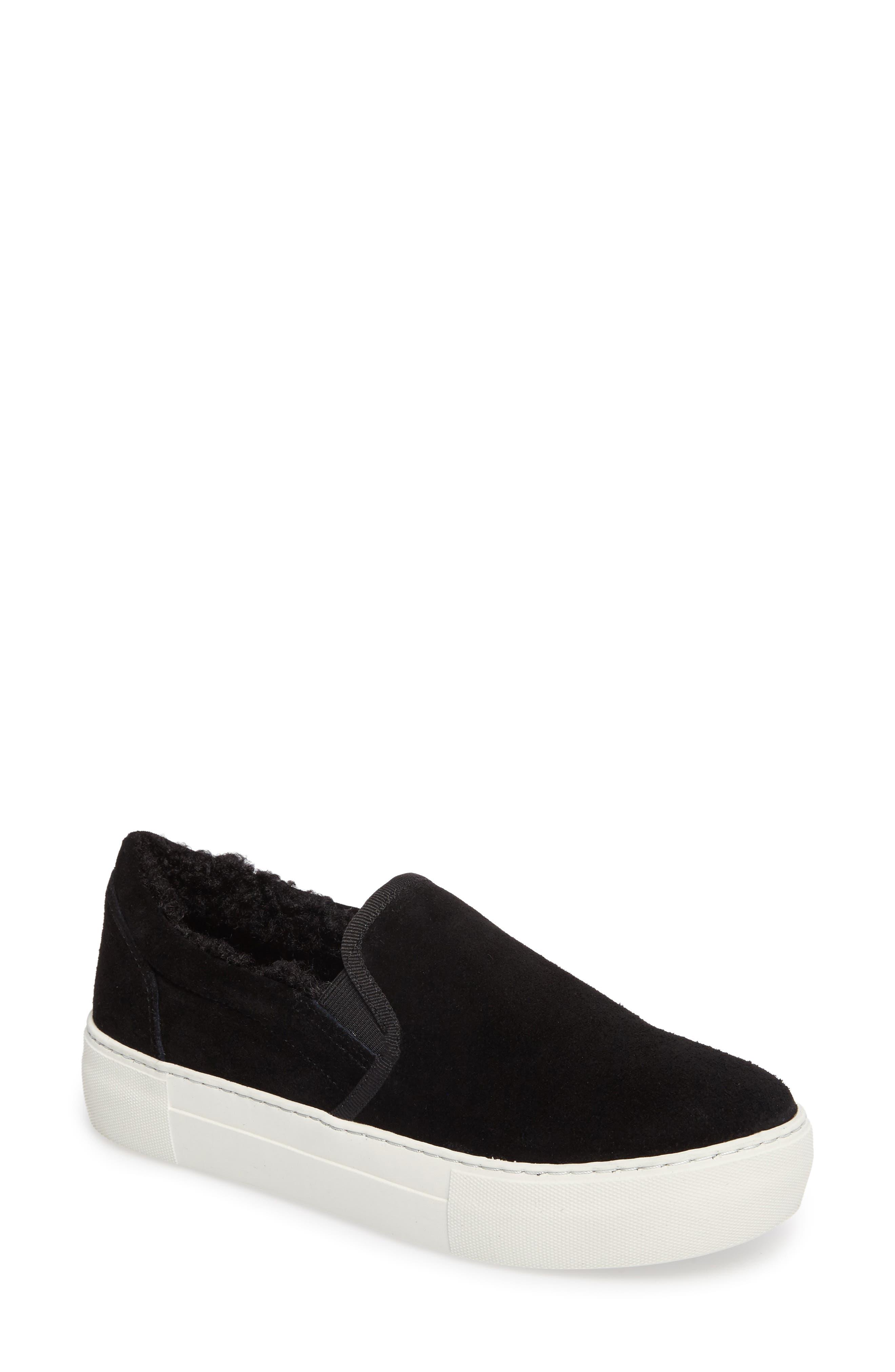 Arpel Faux Fur Lined Slip-On Sneaker,                             Main thumbnail 1, color,                             Black Suede