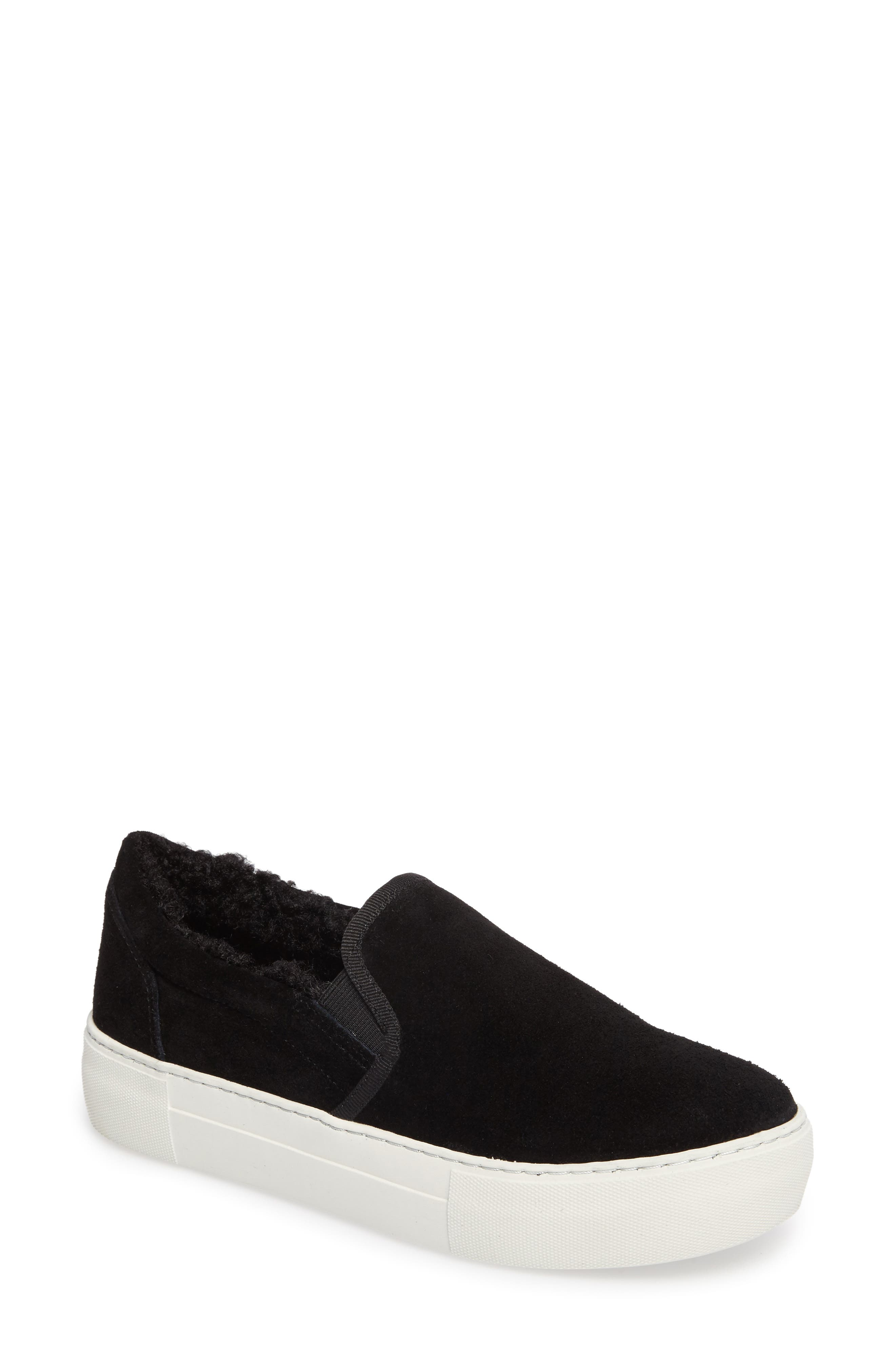 Arpel Faux Fur Lined Slip-On Sneaker,                         Main,                         color, Black Suede