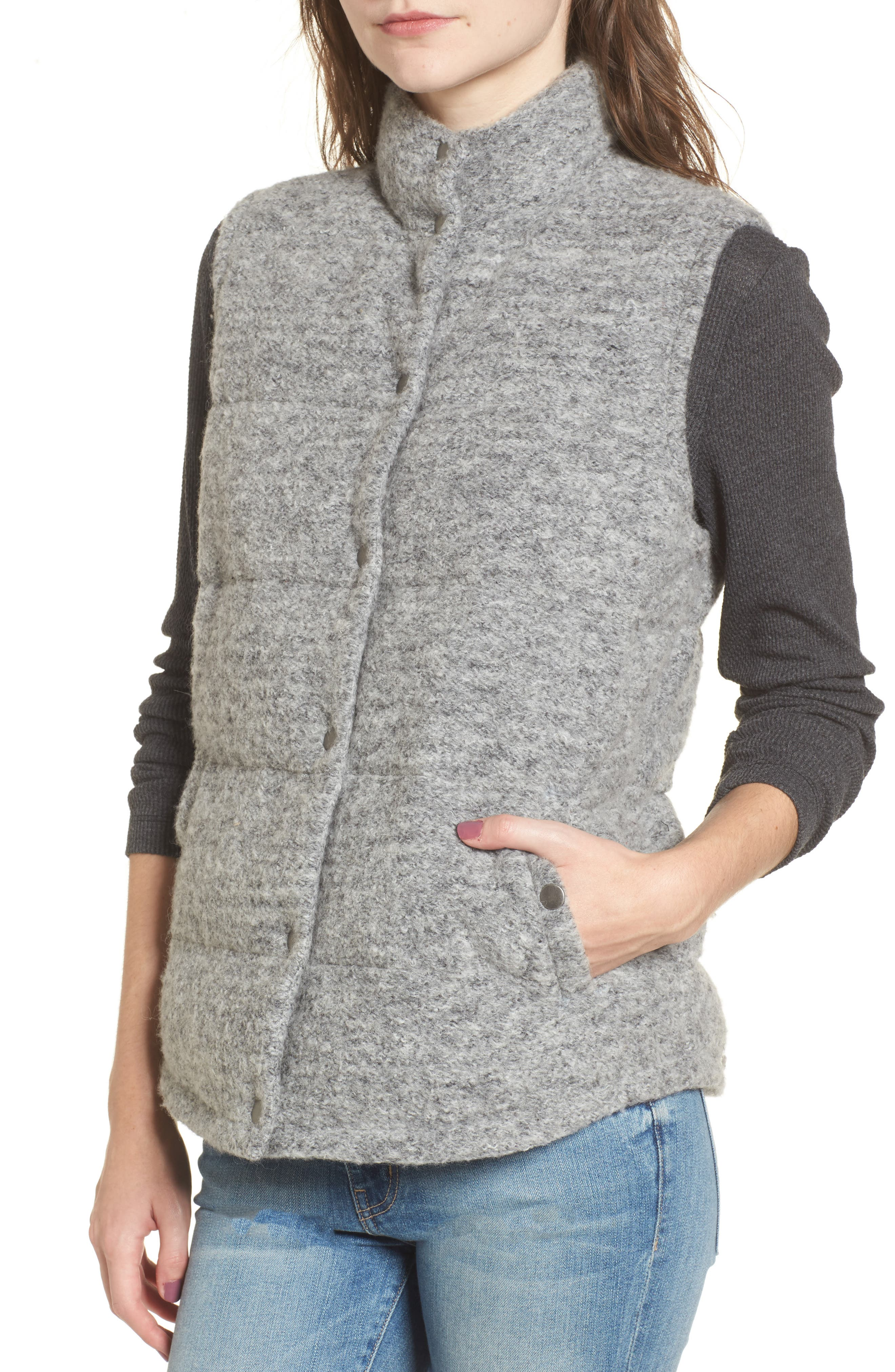Aderyn Knit Puffer Vest,                             Alternate thumbnail 4, color,                             Heather Grey