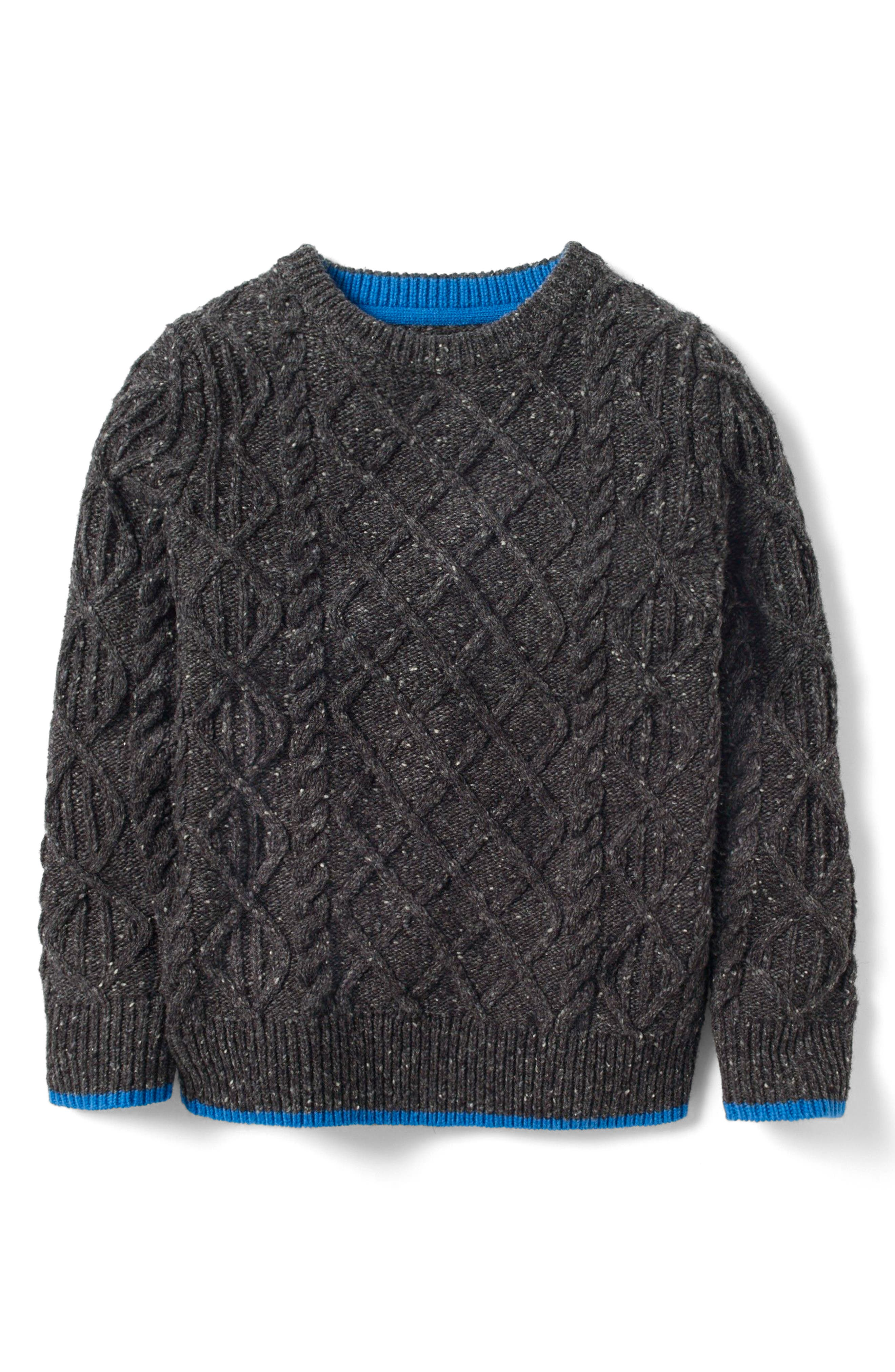 Cable Wool Sweater,                         Main,                         color, Quarry Grey Fleck
