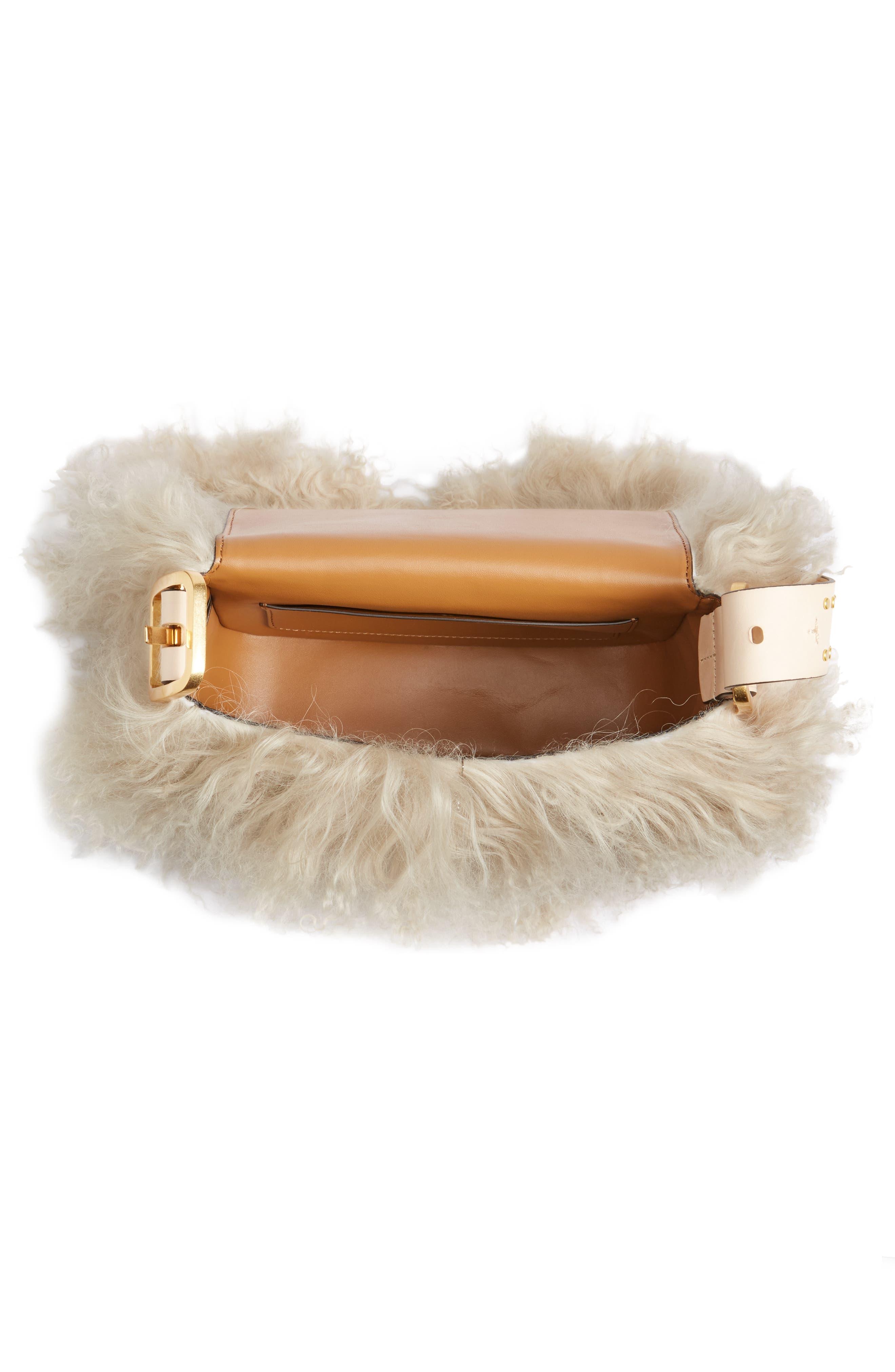 Sawyer Genuine Shearling Shoulder Bag,                             Alternate thumbnail 3, color,                             Neutral