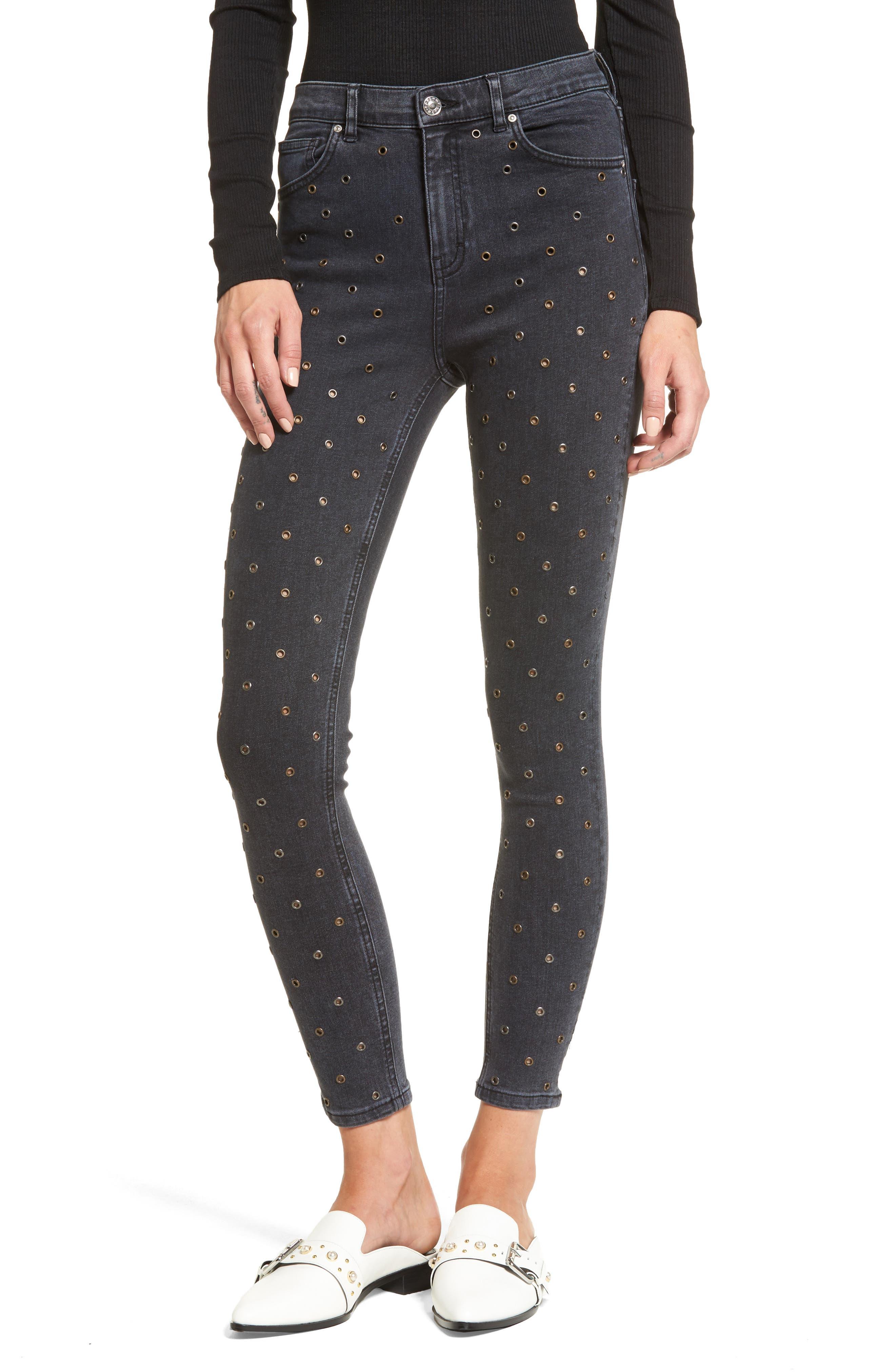 Jamie Grommet Ankle Skinny Jeans,                         Main,                         color, Washed Black