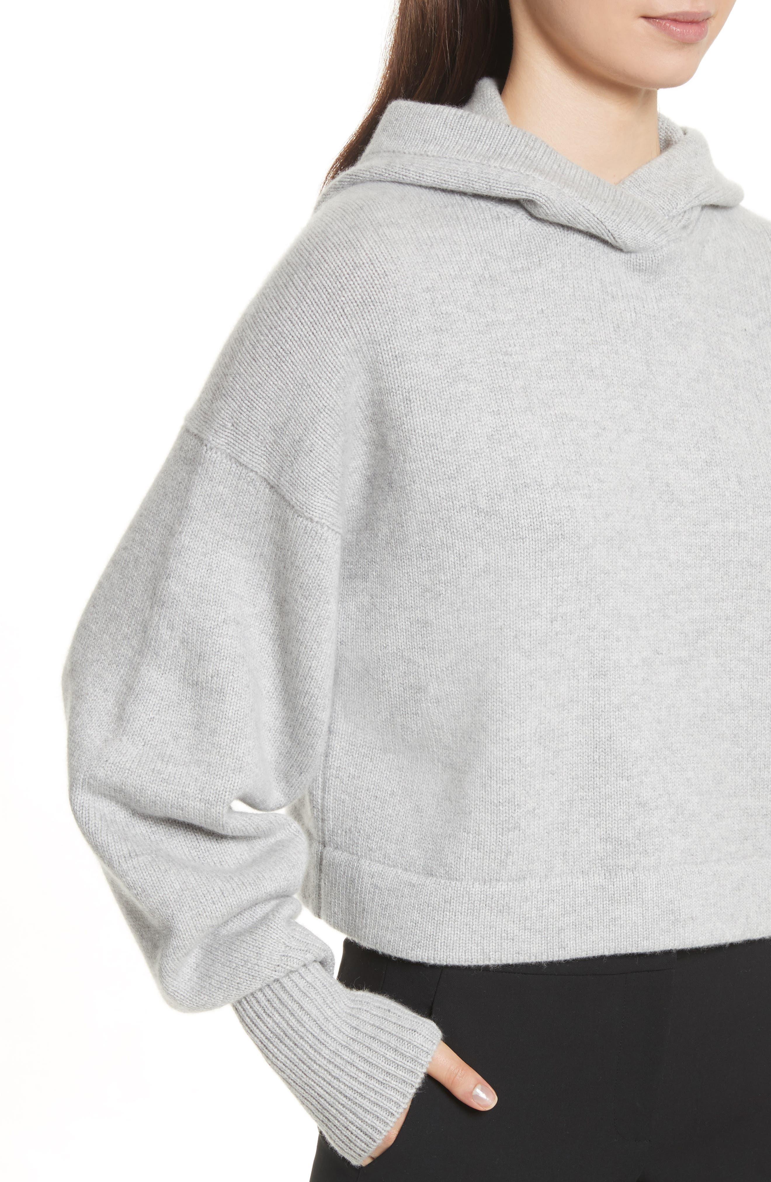 Blouson Sleeve Cashmere Hoodie,                             Alternate thumbnail 5, color,                             Heather Grey