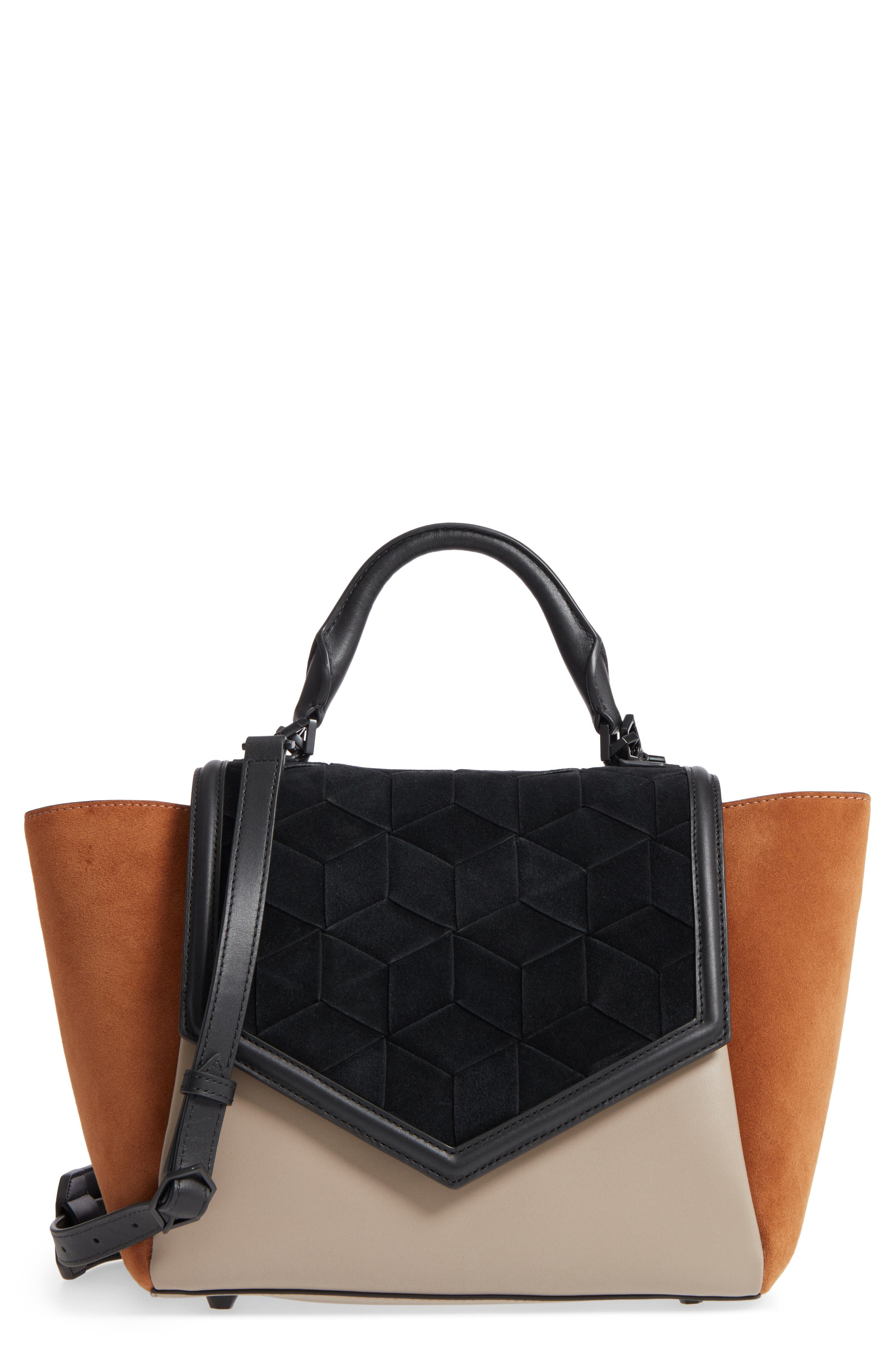 WELDEN Saunter Colorblocked Leather & Suede Top Handle Satchel