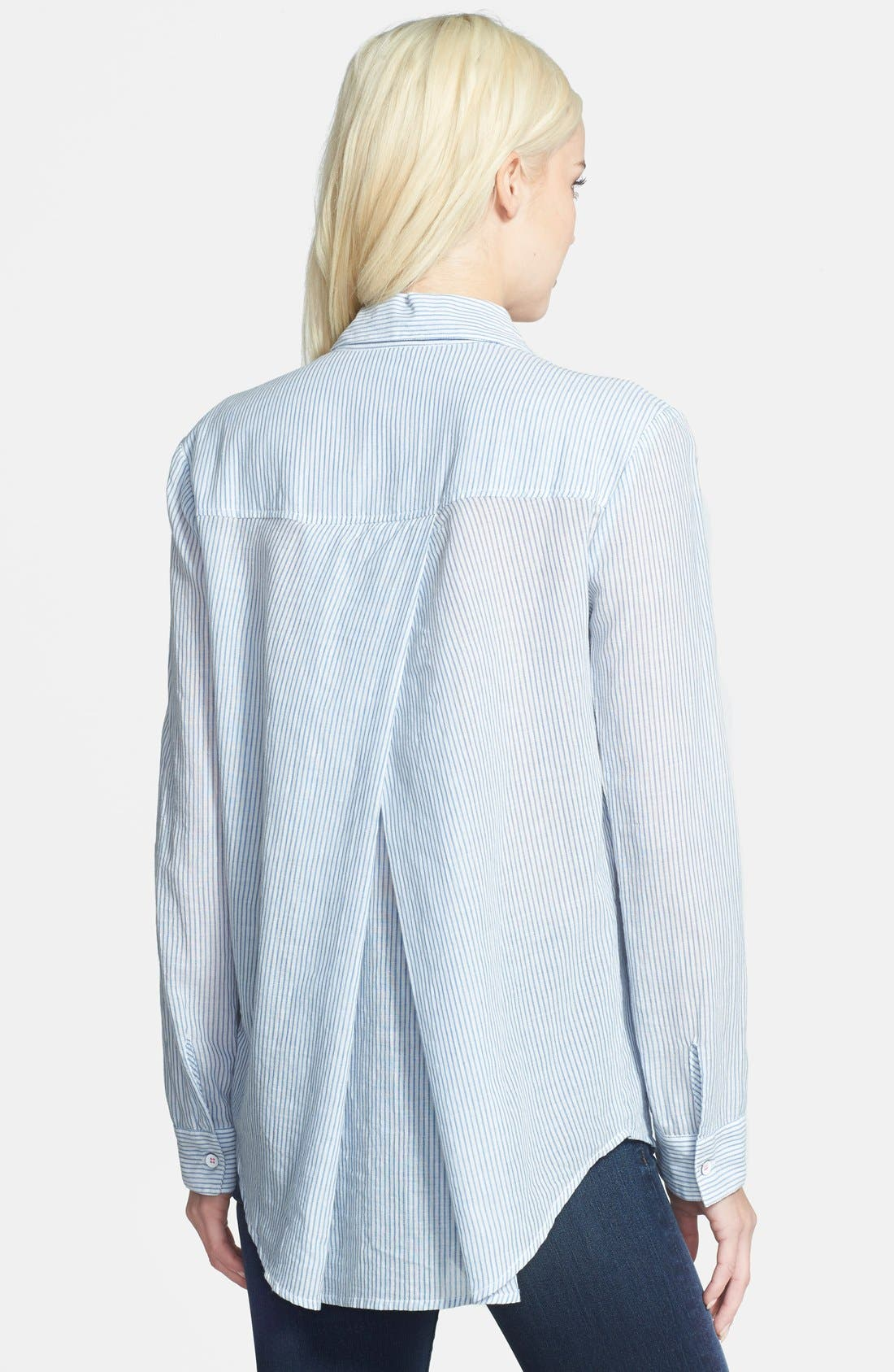Back Pleat Pinstripe Shirt,                             Alternate thumbnail 2, color,                             Navy Stripe
