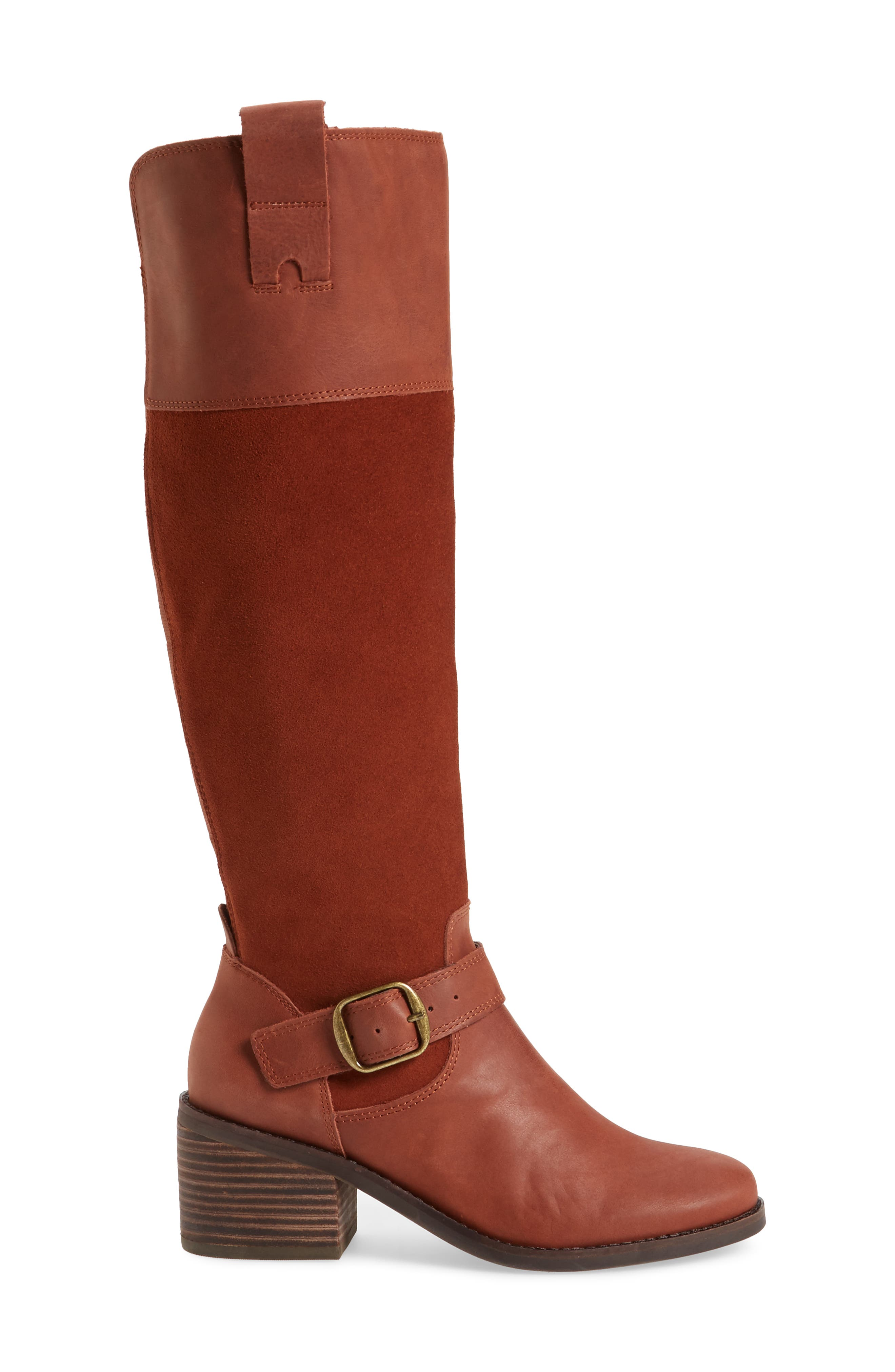 Kailan Ankle Strap Tall Boot,                             Alternate thumbnail 3, color,                             Rye Leather