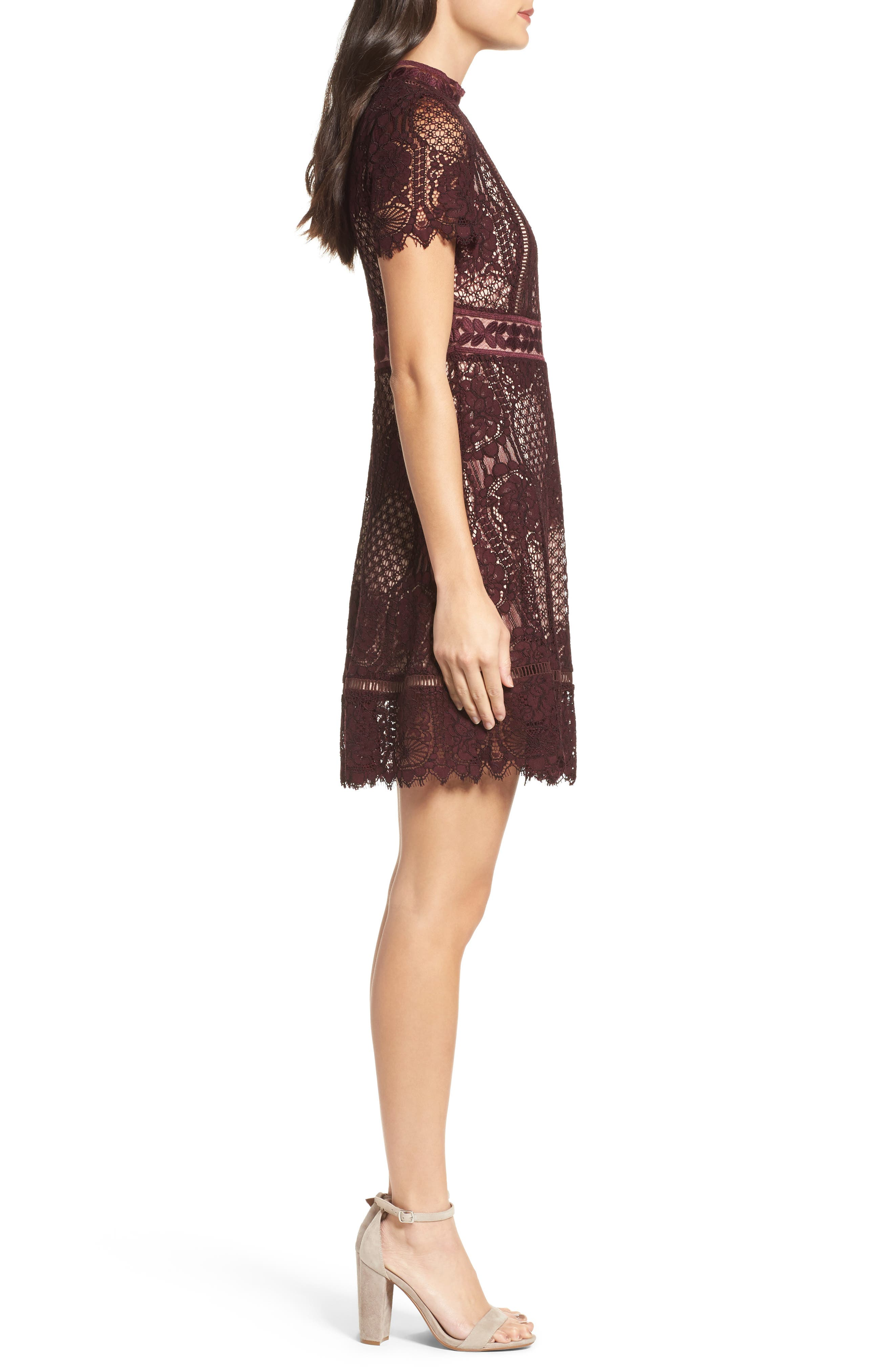 Lace Fit & Flare Dress,                             Alternate thumbnail 3, color,                             Fig