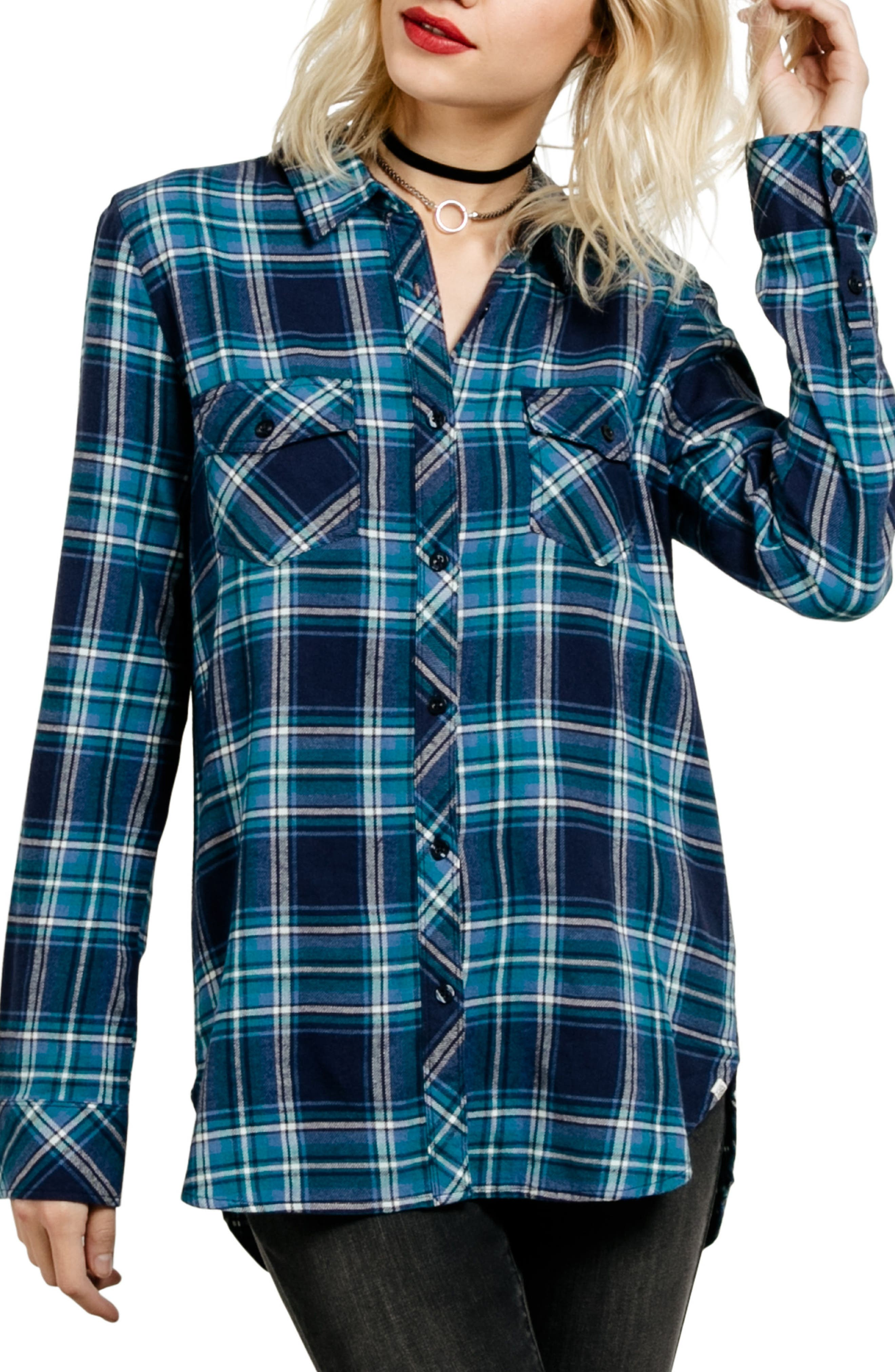 Fly High Flannel Top,                         Main,                         color, Royal