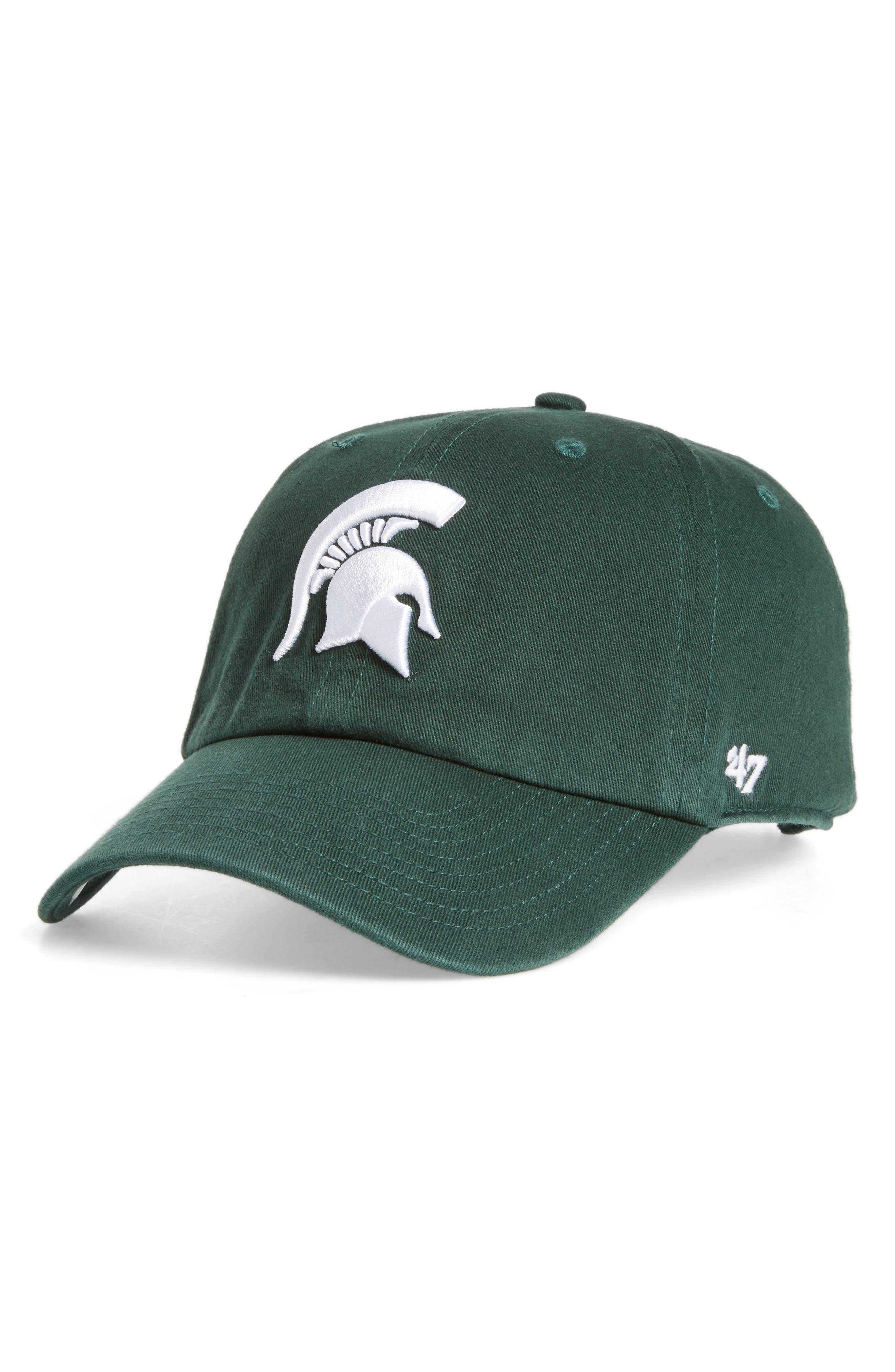 Michigan State Clean Up Baseball Cap,                         Main,                         color, Dark Green