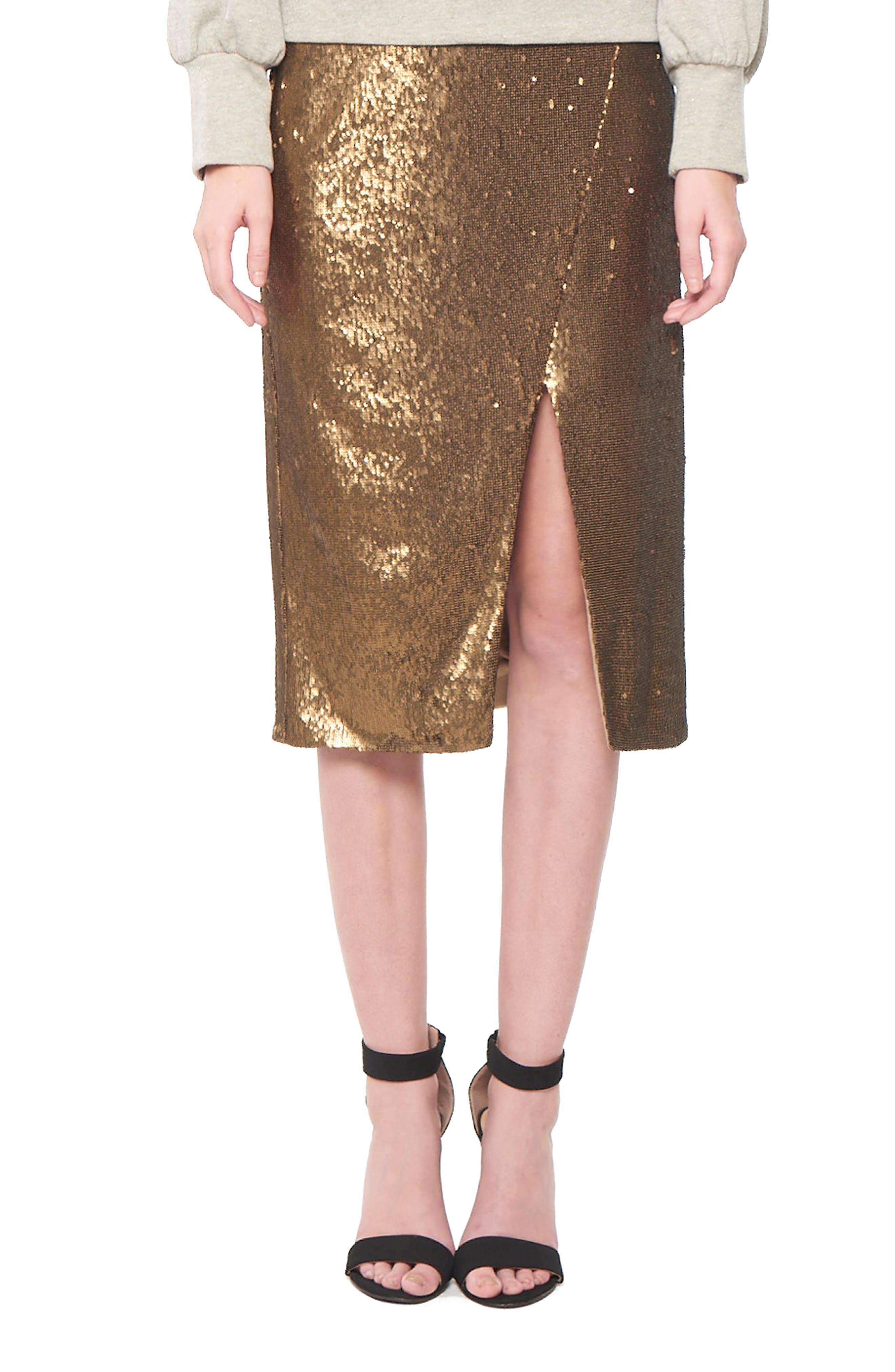 Sequin Wrap Skirt,                         Main,                         color, Bronze
