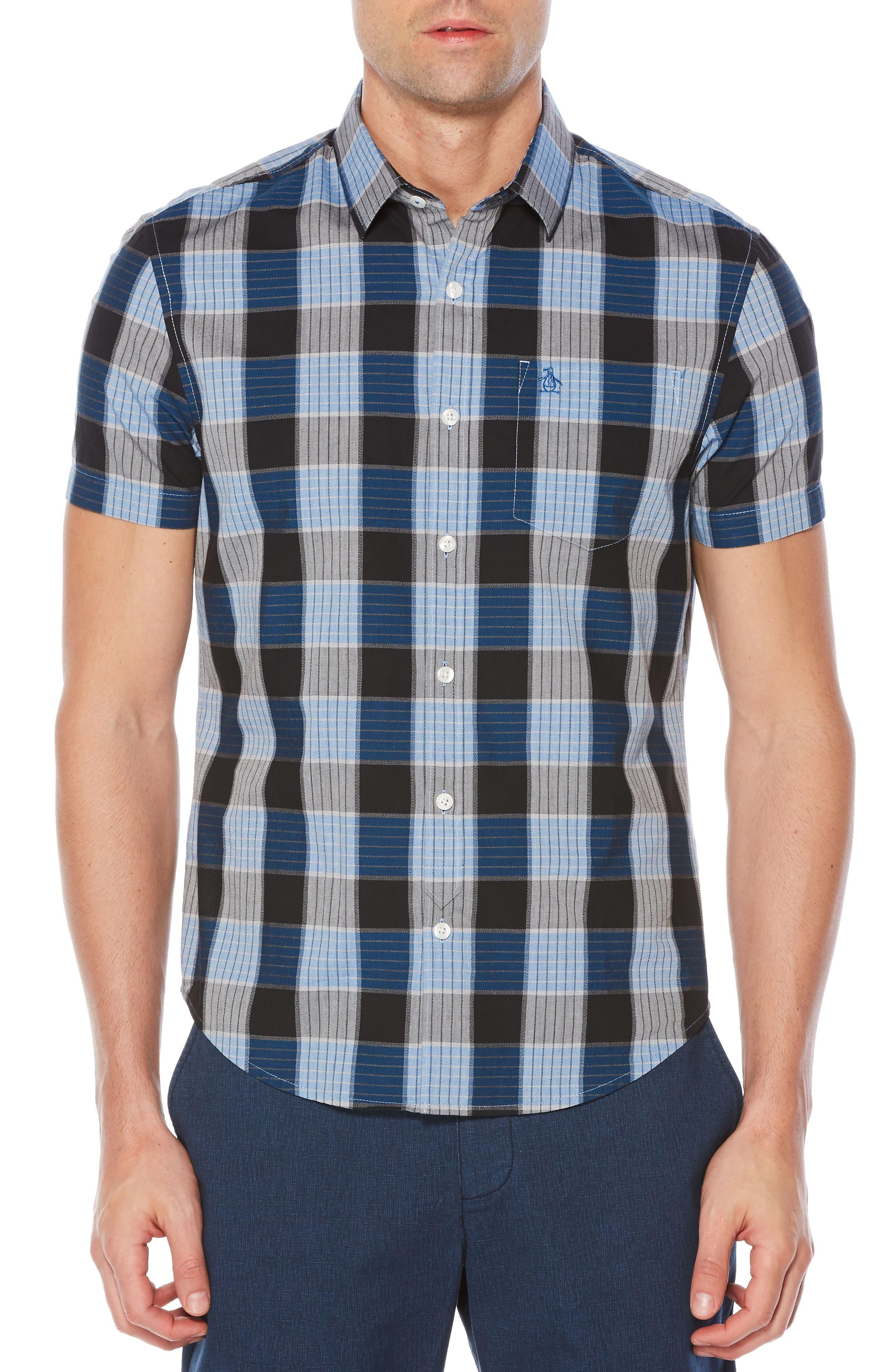 Jaspé Plaid Slim Fit Shirt,                         Main,                         color, Snorkel Blue