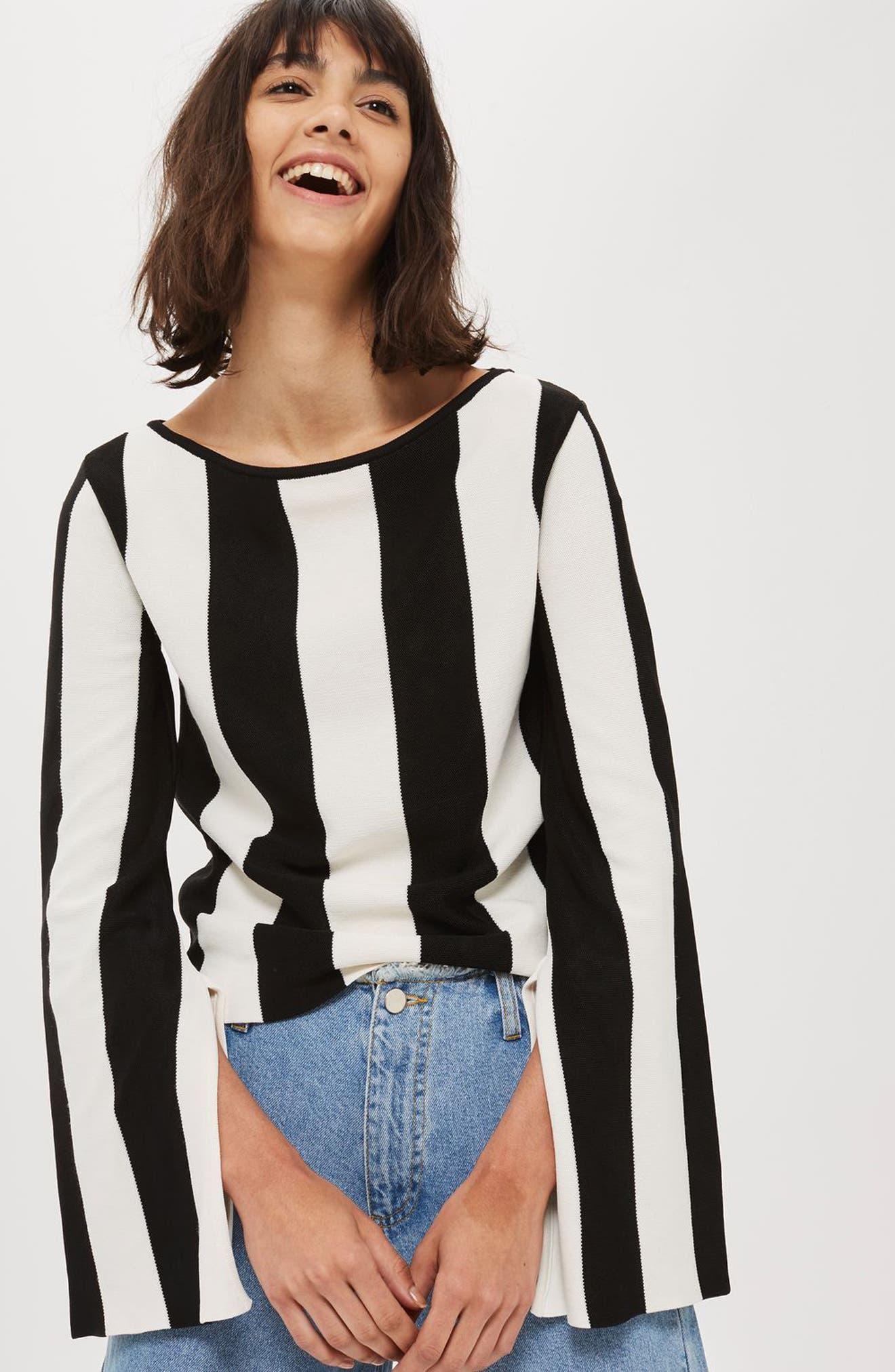 Stripe Split Sleeve Sweater,                             Alternate thumbnail 2, color,                             Black Multi