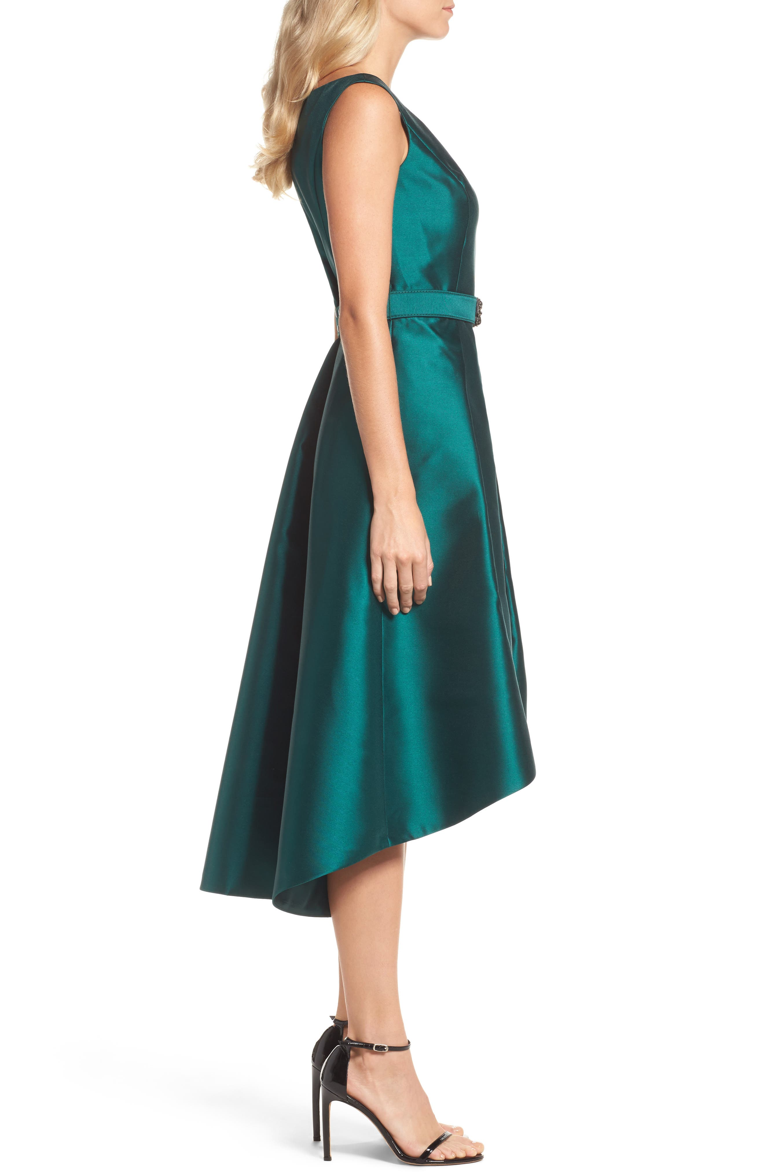 Embellished High/Low Dress,                             Alternate thumbnail 3, color,                             Emerald