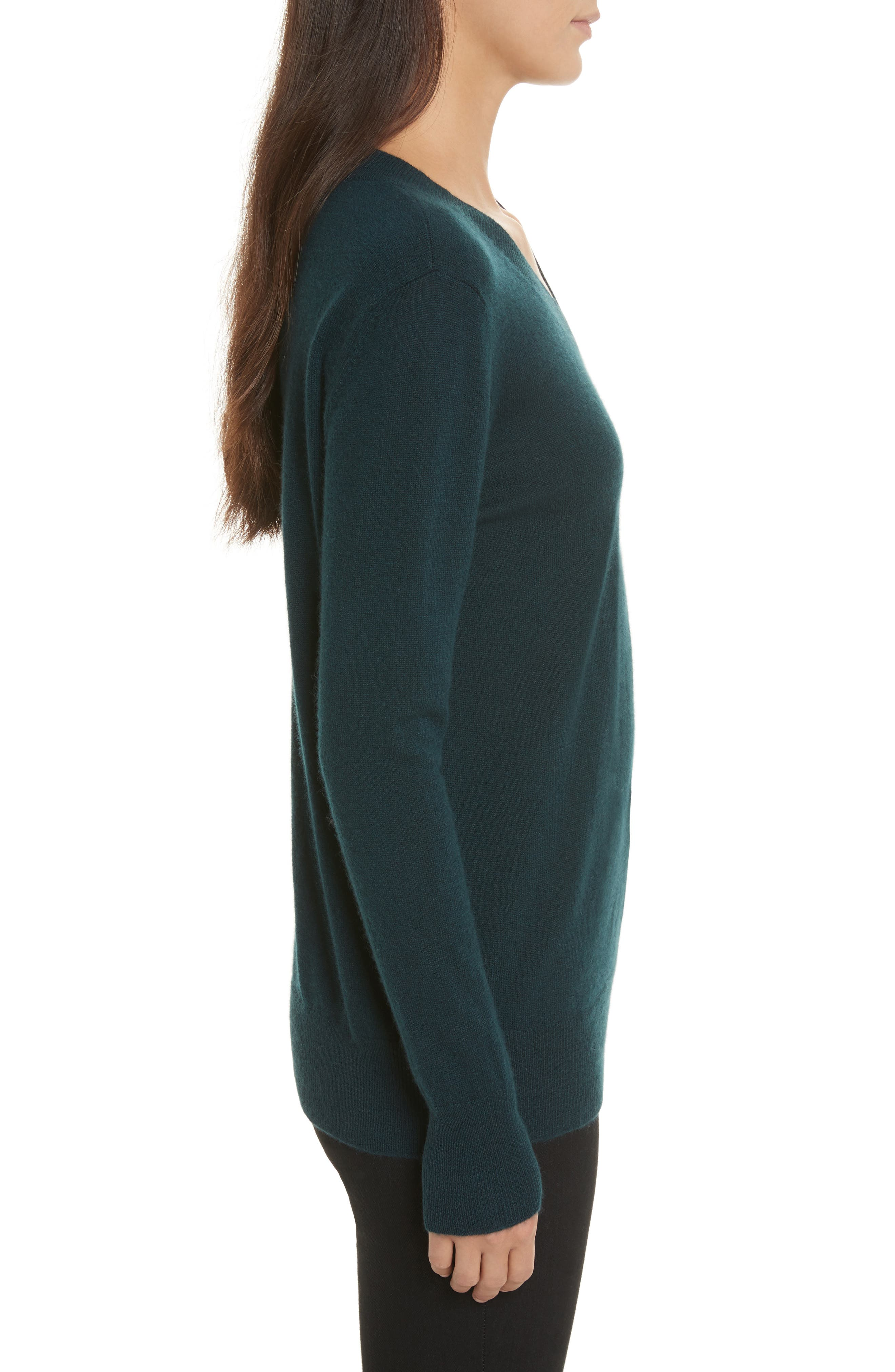 Cashmere Slash Boyfriend Sweater,                             Alternate thumbnail 2, color,                             Juniper