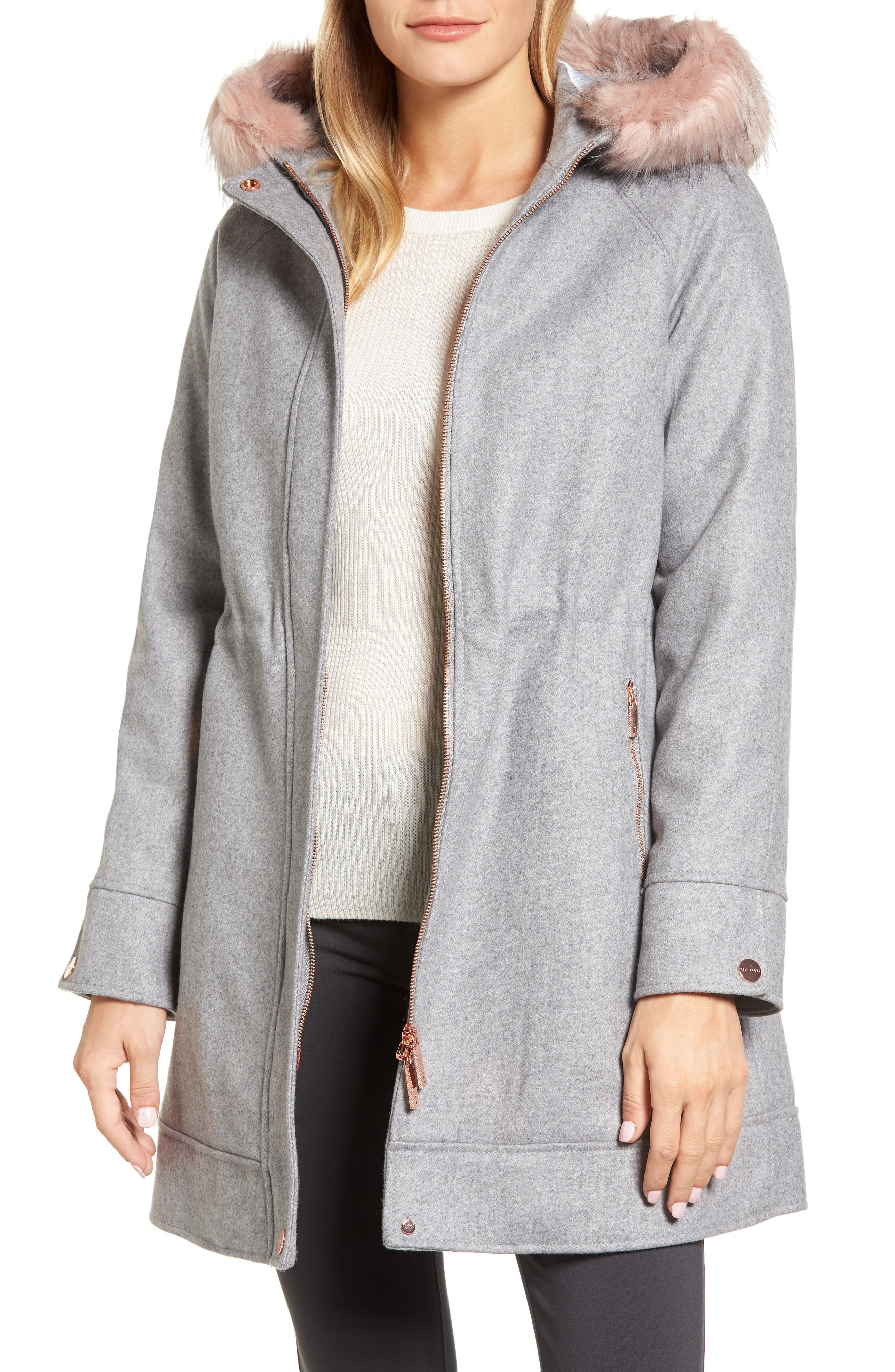 Wool Coat with Faux Fur Trim,                         Main,                         color, Light Grey