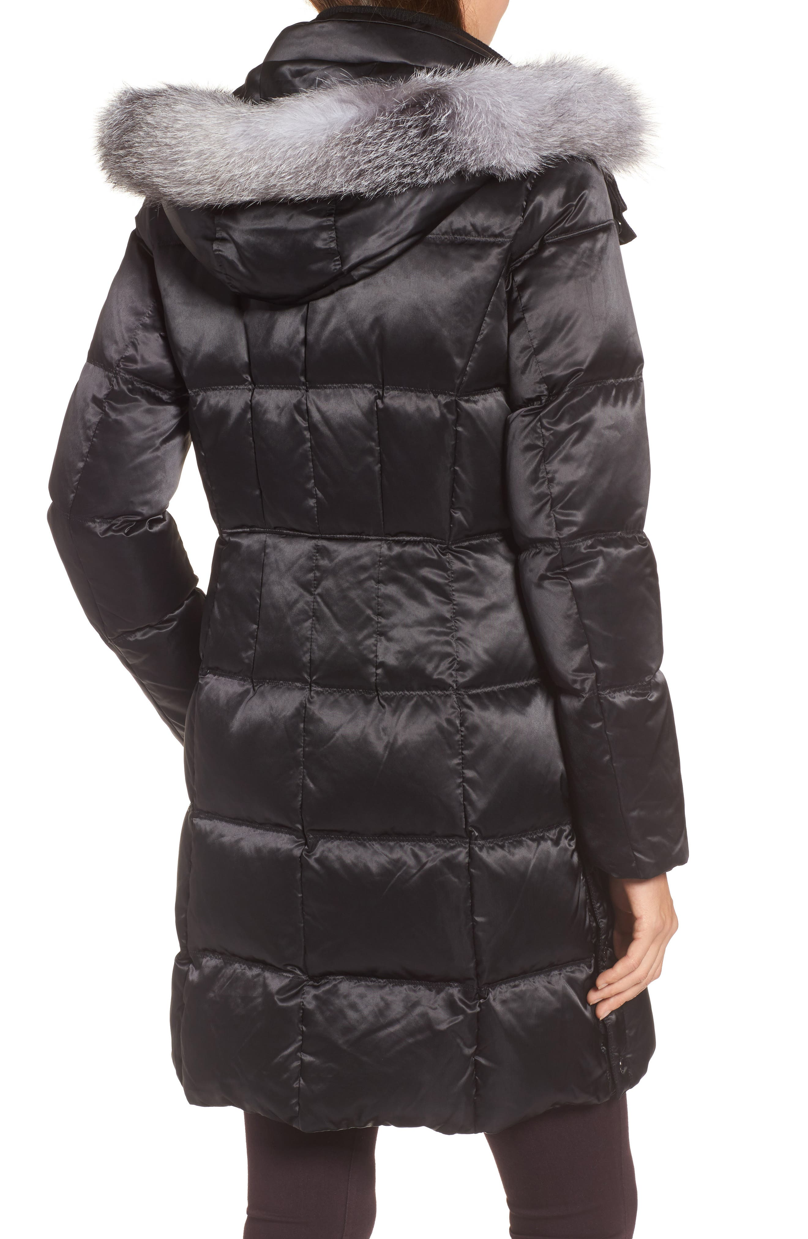 Hooded Down Jacket with Genuine Fox Fur Trim,                             Alternate thumbnail 2, color,                             Black