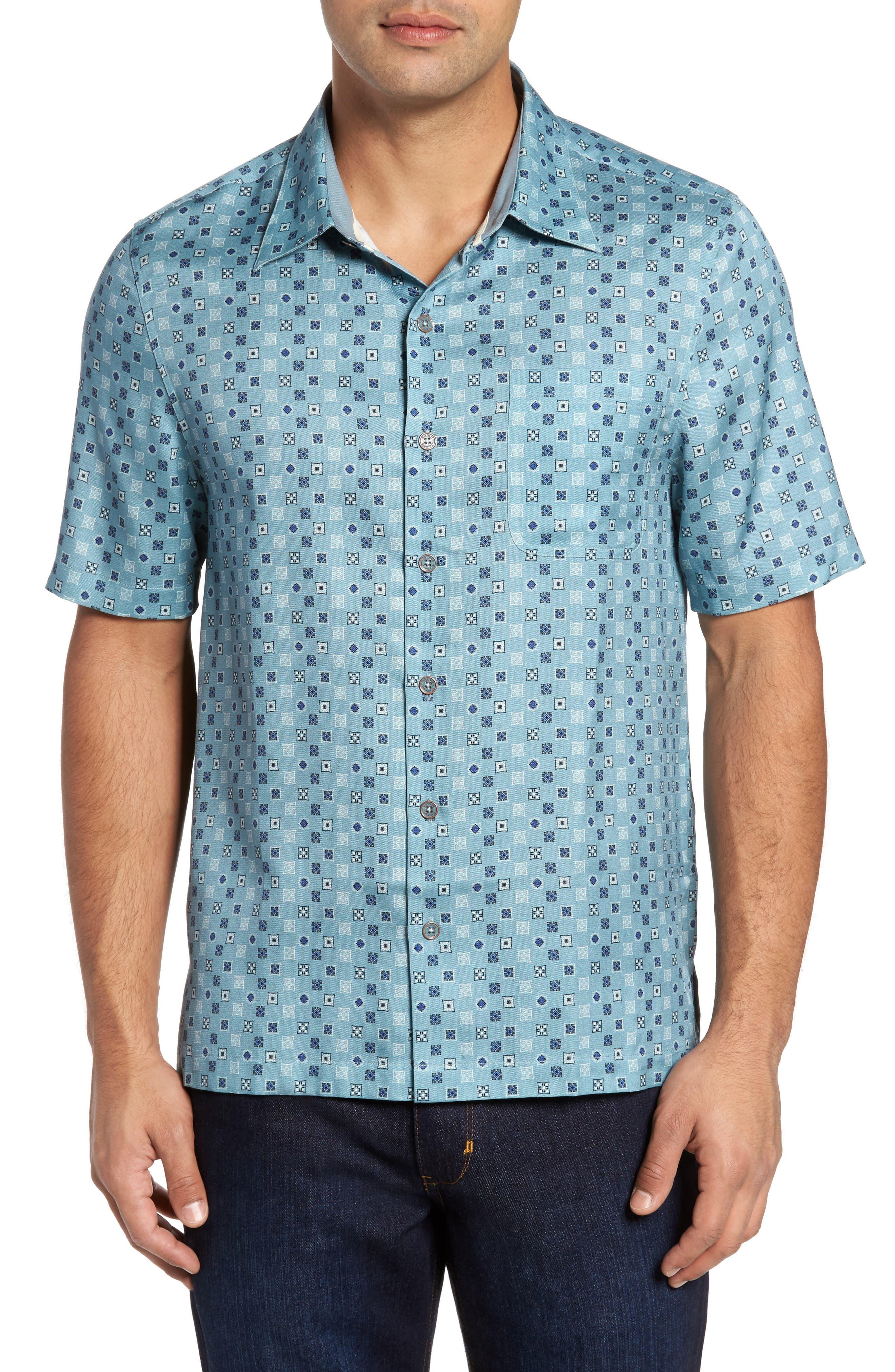 Peak Classic Fit Silk Blend Camp Shirt,                         Main,                         color, Matterhorn Grey