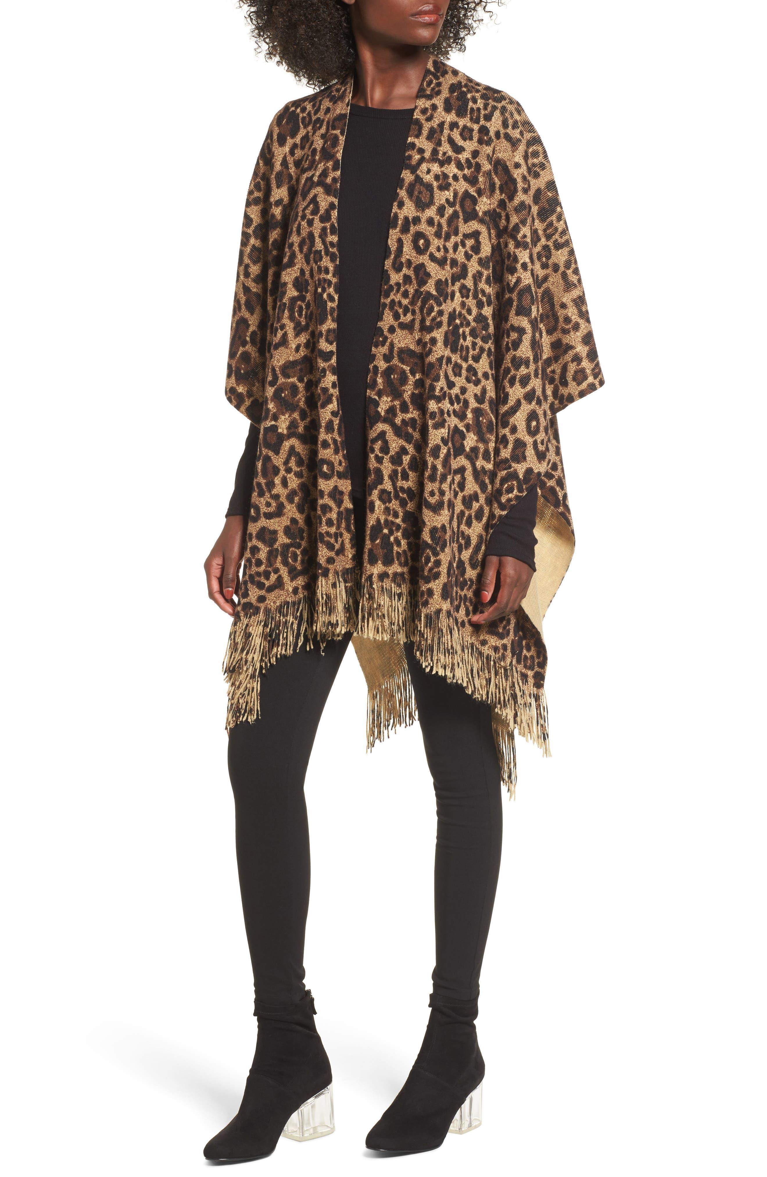 Leopard Print Fringe Wrap,                         Main,                         color, Brown Combo