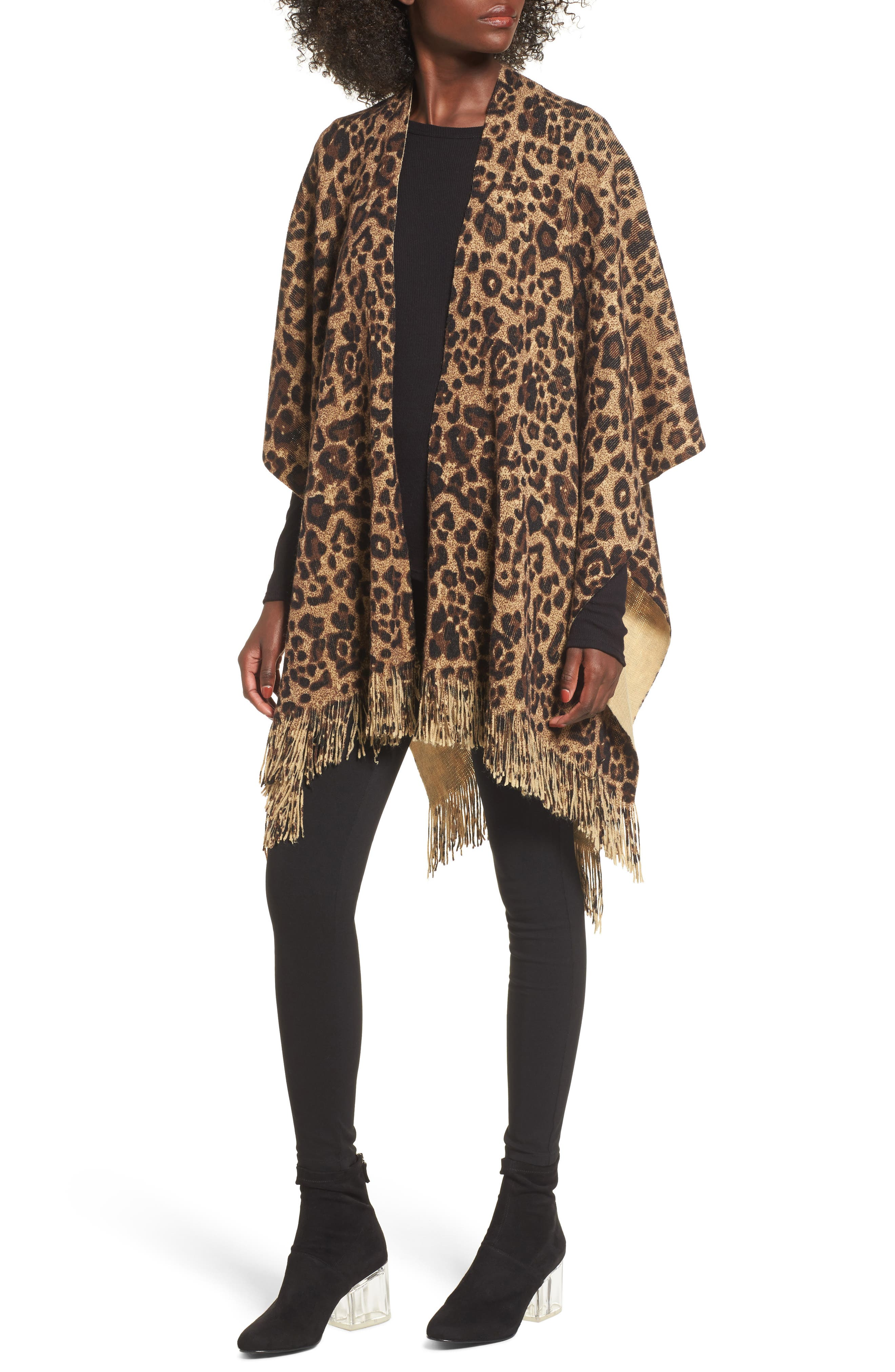 Sole Society Leopard Print Fringe Wrap