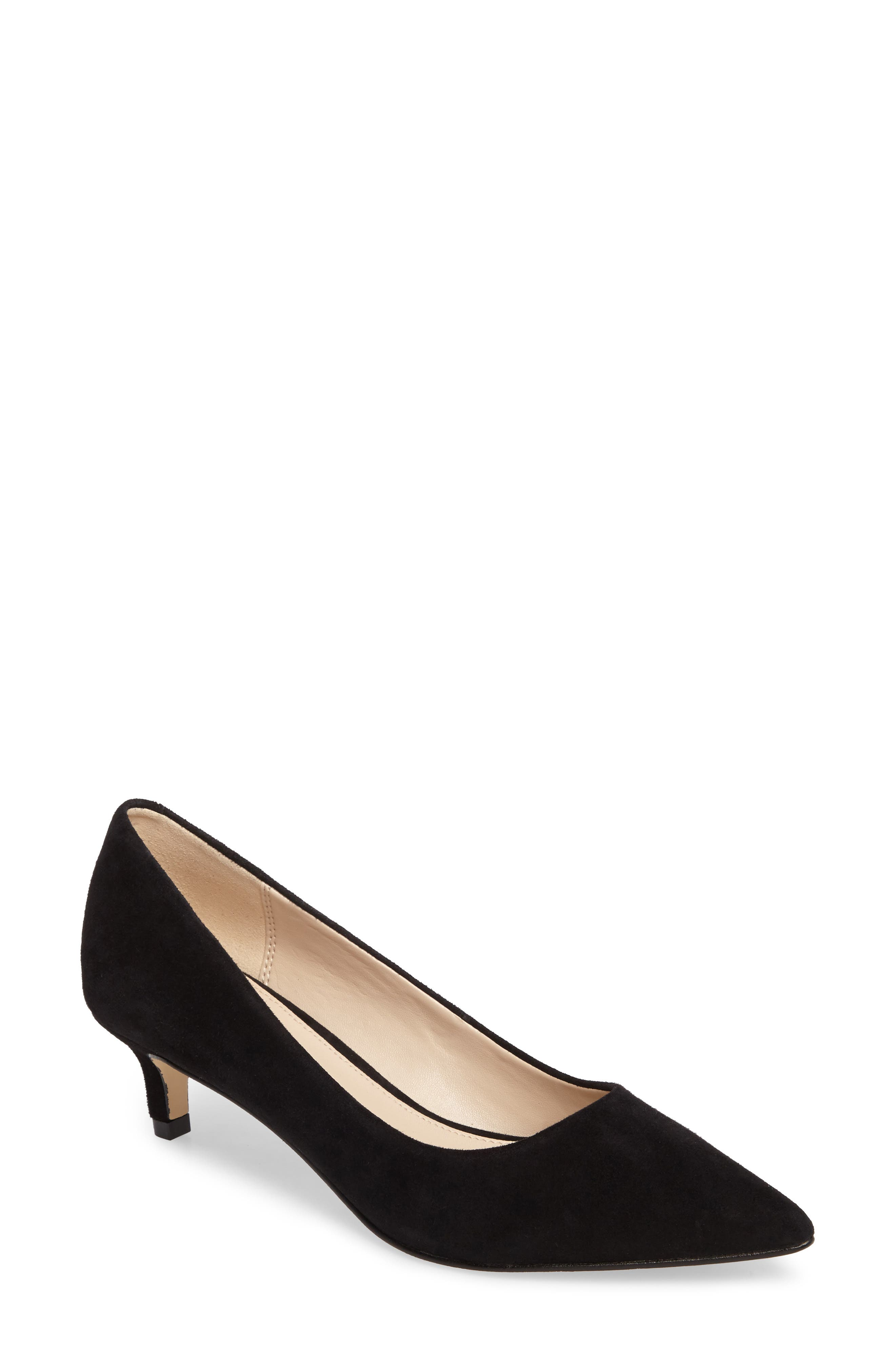 Dena Pointy Toe Pump,                             Main thumbnail 1, color,                             Black Leather