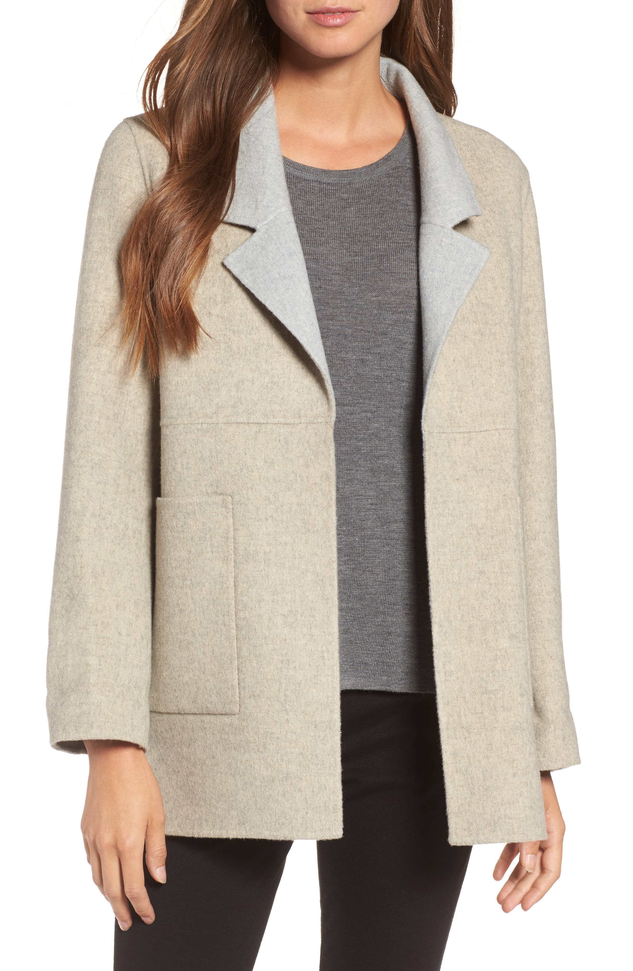 Double Face Brushed Wool Notch Collar Jacket,                         Main,                         color, Oatmeal