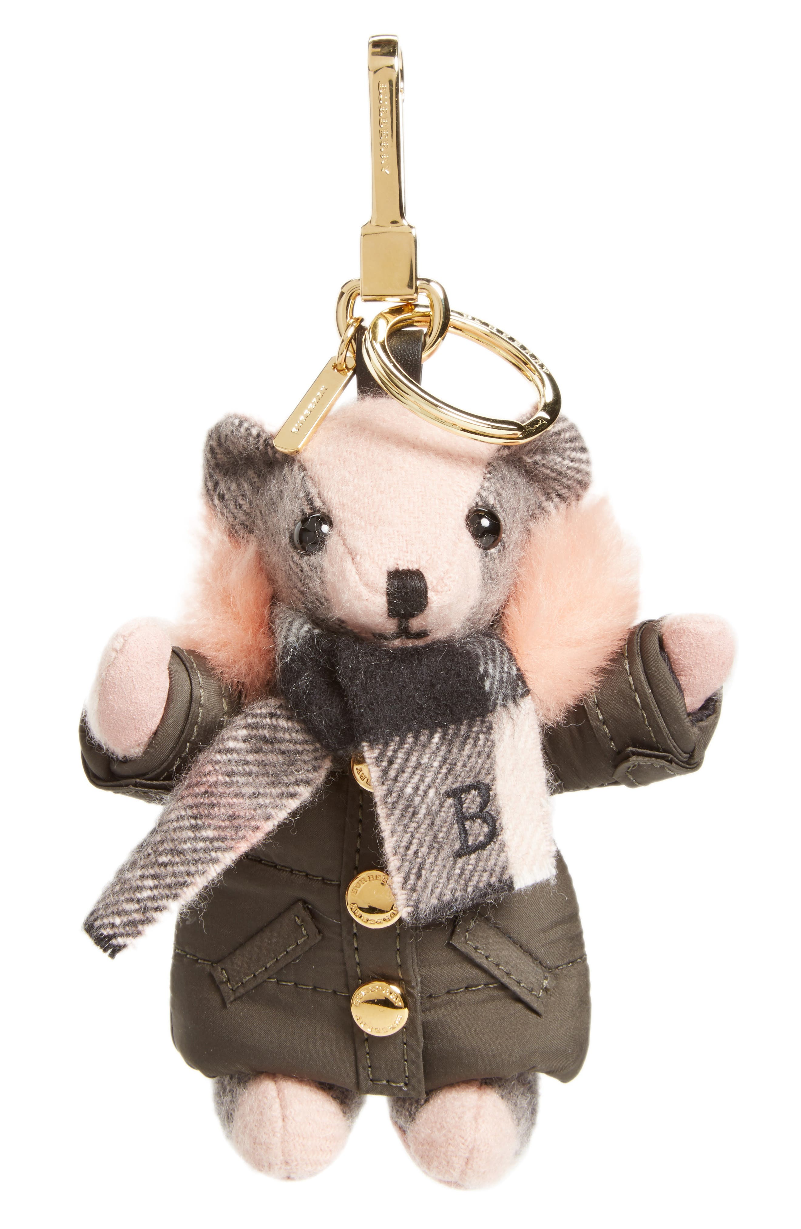 Burberry Thomas Bear Bag Charm with Genuine Shearling Trim Puffer Jacket & Scarf