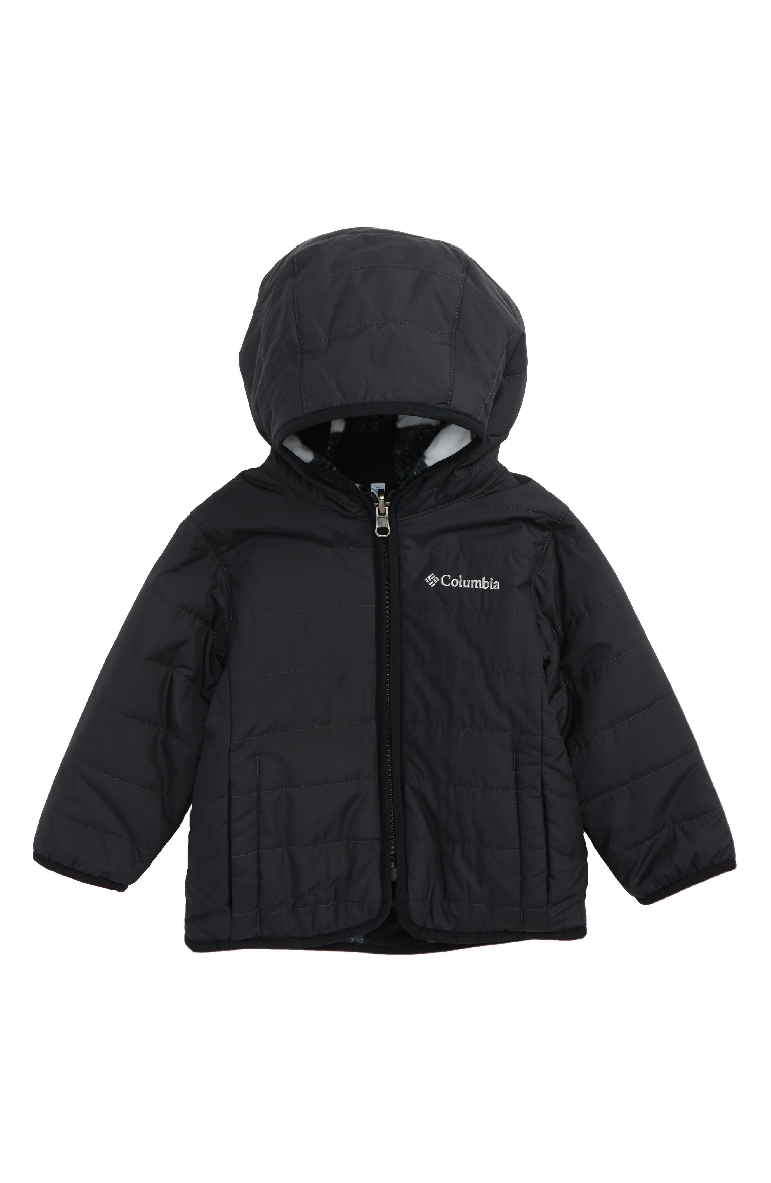 Double Trouble Omni-Shield Reversible Water-Resistant Hooded Jacket,                             Main thumbnail 1, color,                             Black Plaid