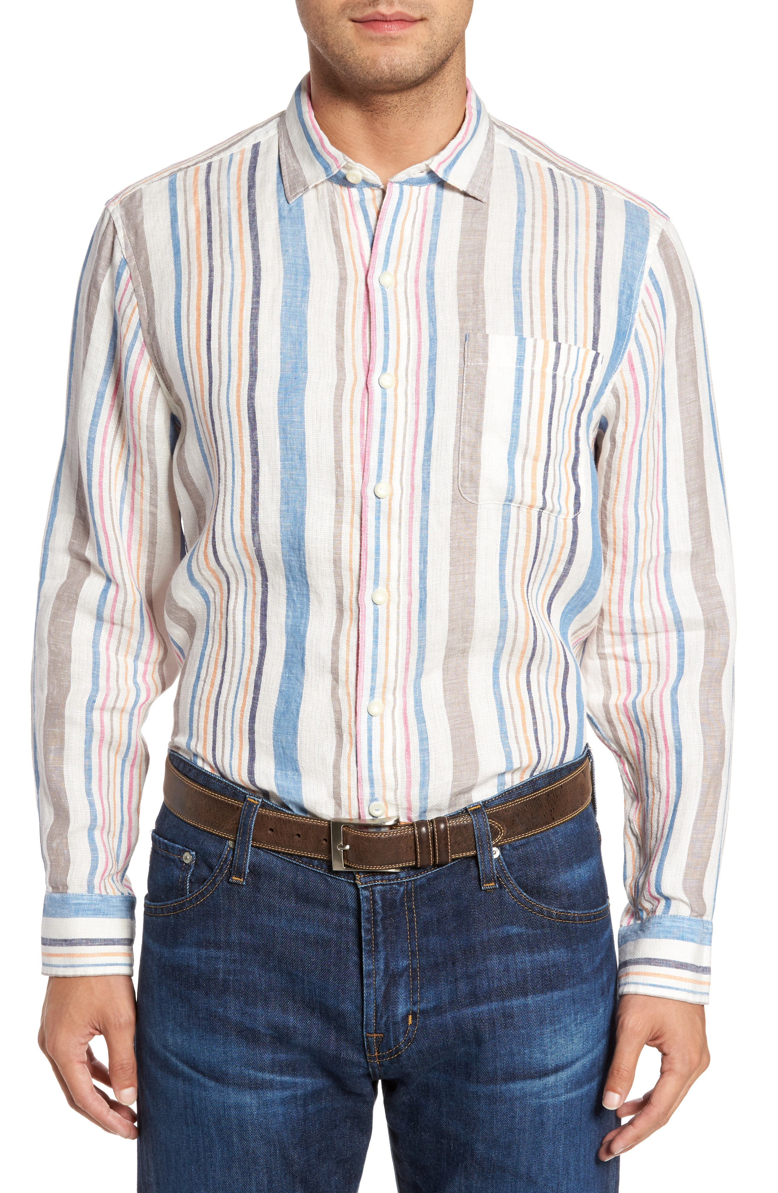 Raffia Stripe Linen Sport Shirt,                             Main thumbnail 1, color,                             Kingdom Blue