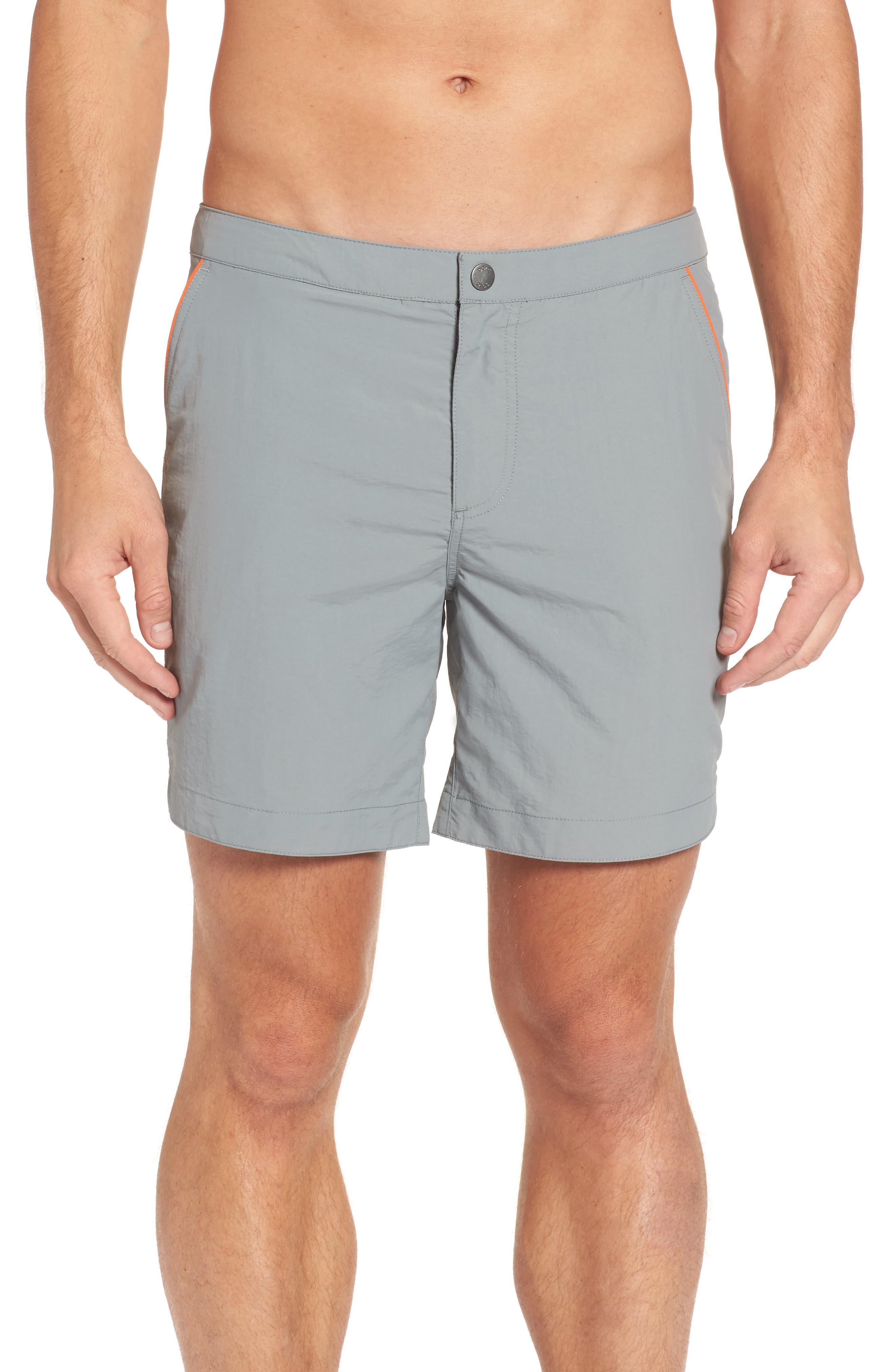 Rio Regular Fit Swim Trunks,                         Main,                         color, Grey Solid