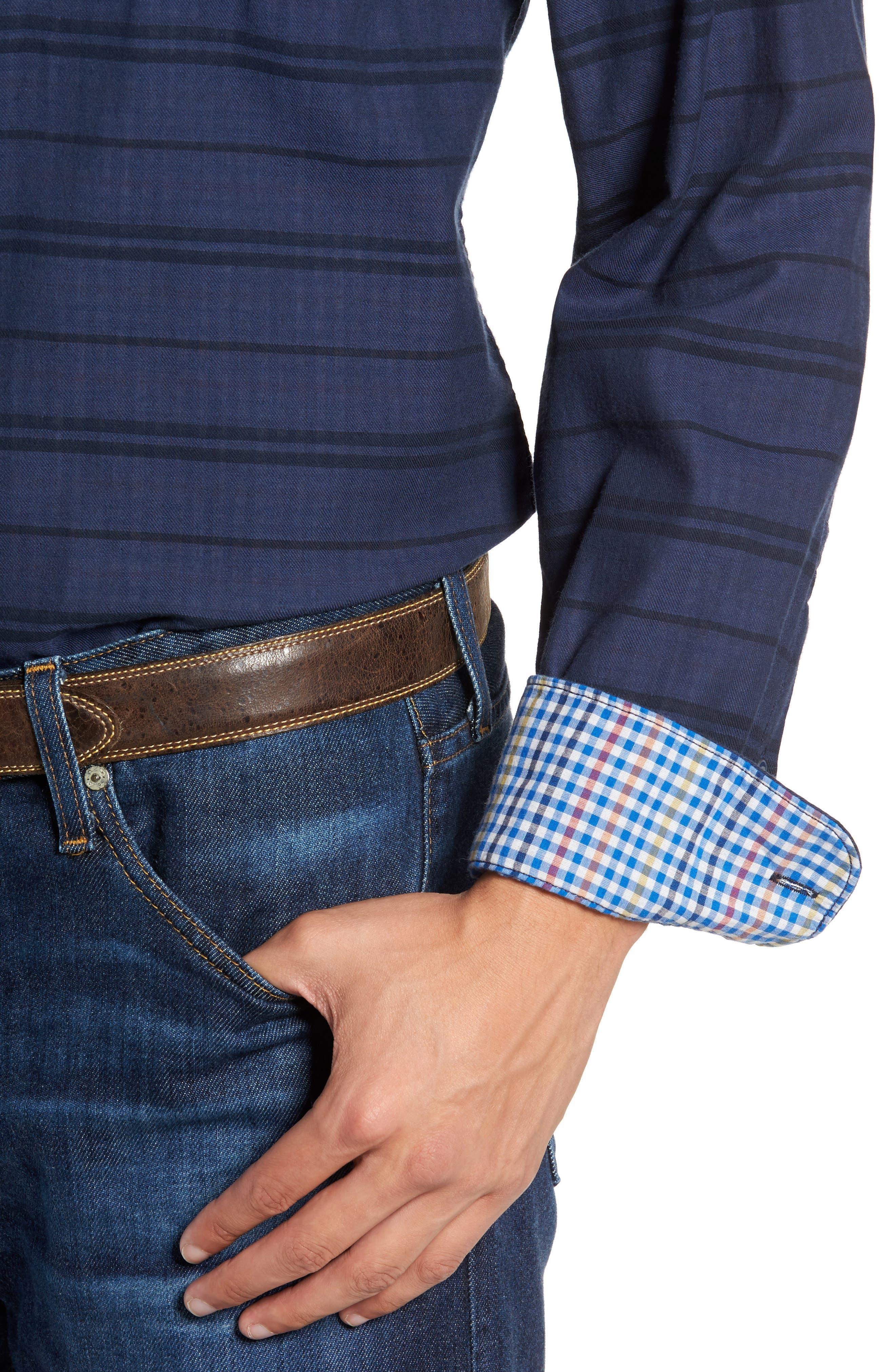 Tan Tan Stripe Standard Fit Sport Shirt,                             Alternate thumbnail 4, color,                             Deep Tahoe