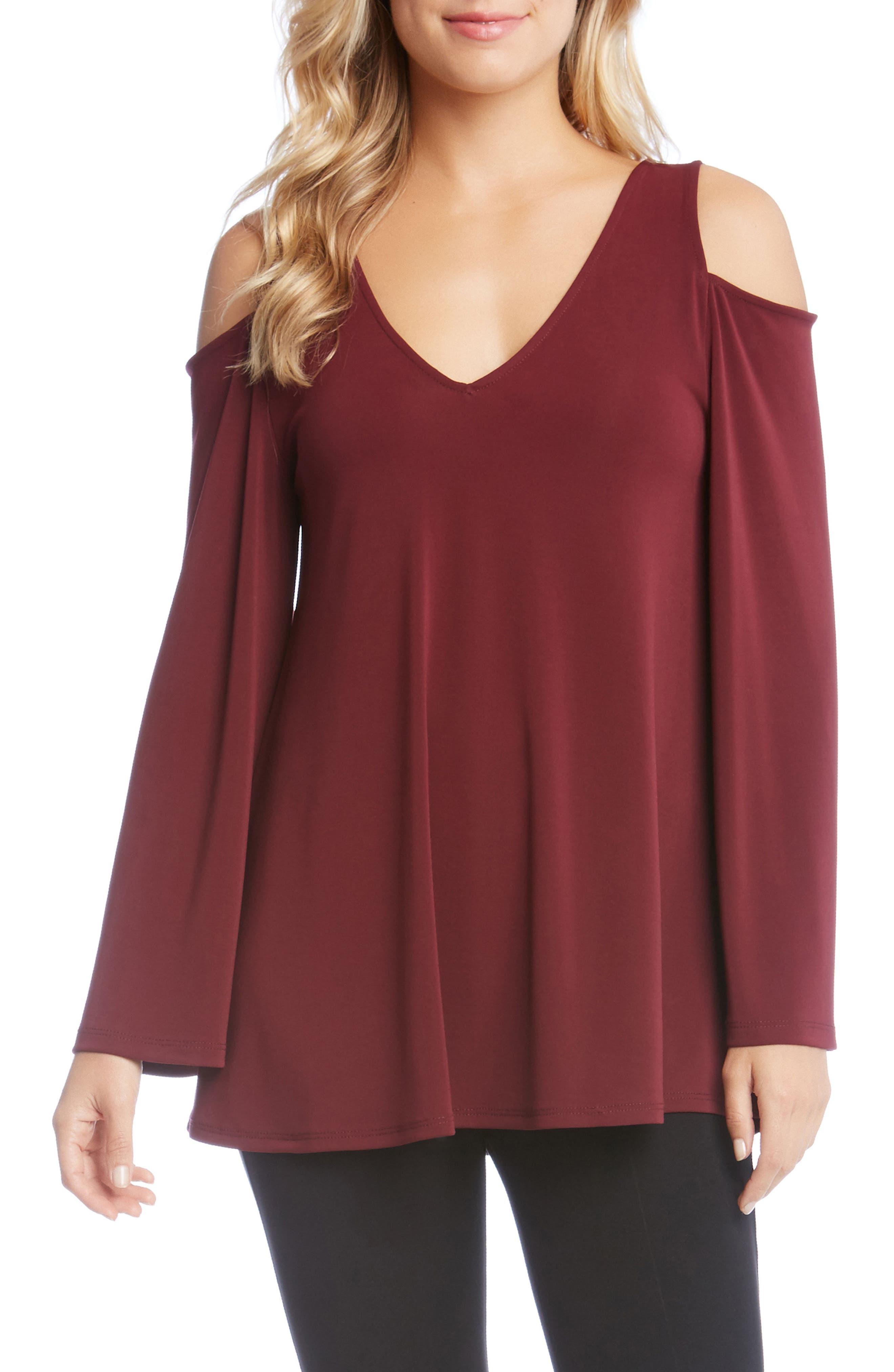 Cold Shoulder Bell Sleeve Top,                         Main,                         color, Wine