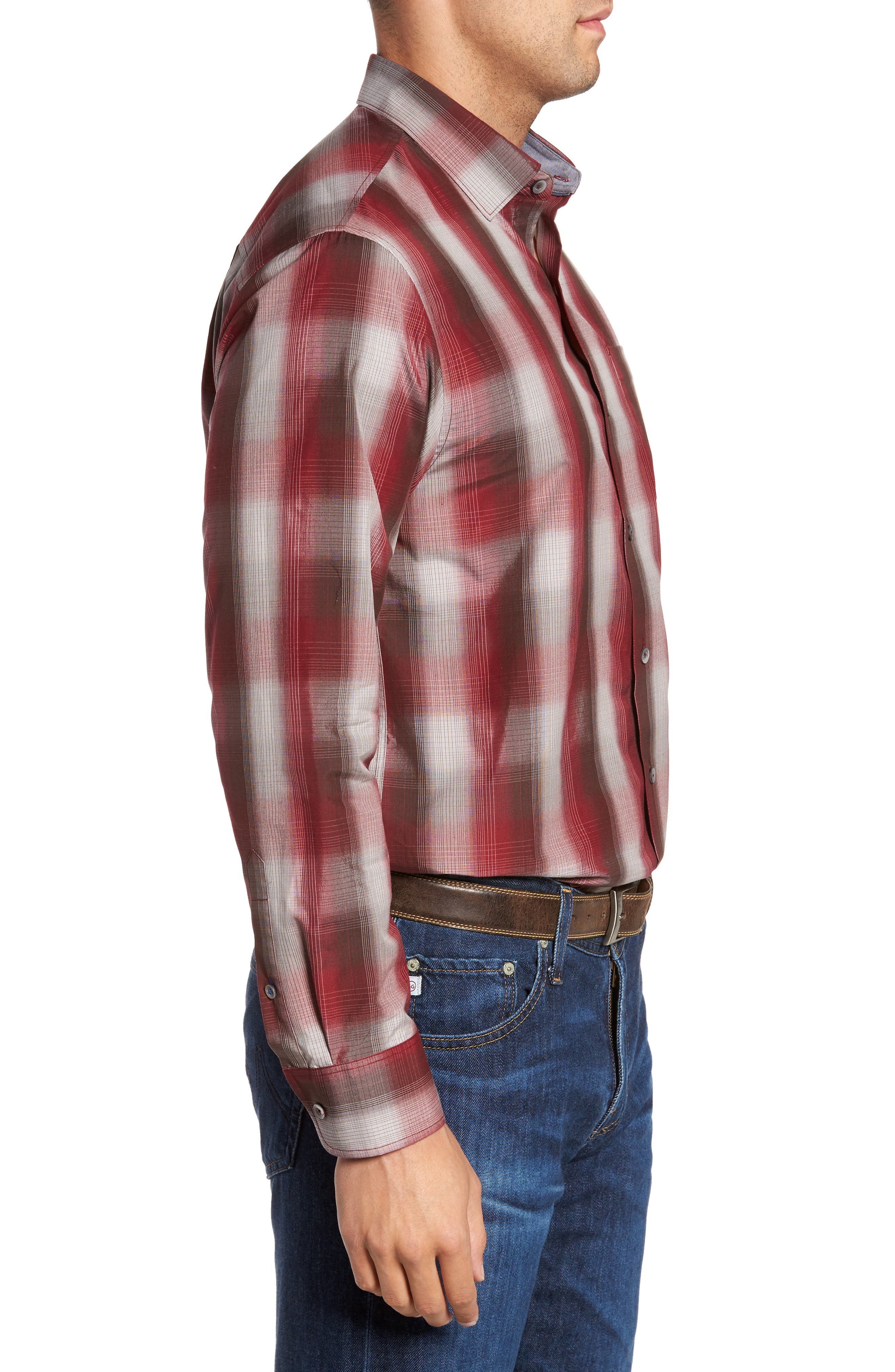 Azilal Ombré Plaid Sport Shirt,                             Alternate thumbnail 3, color,                             Ruby Wine