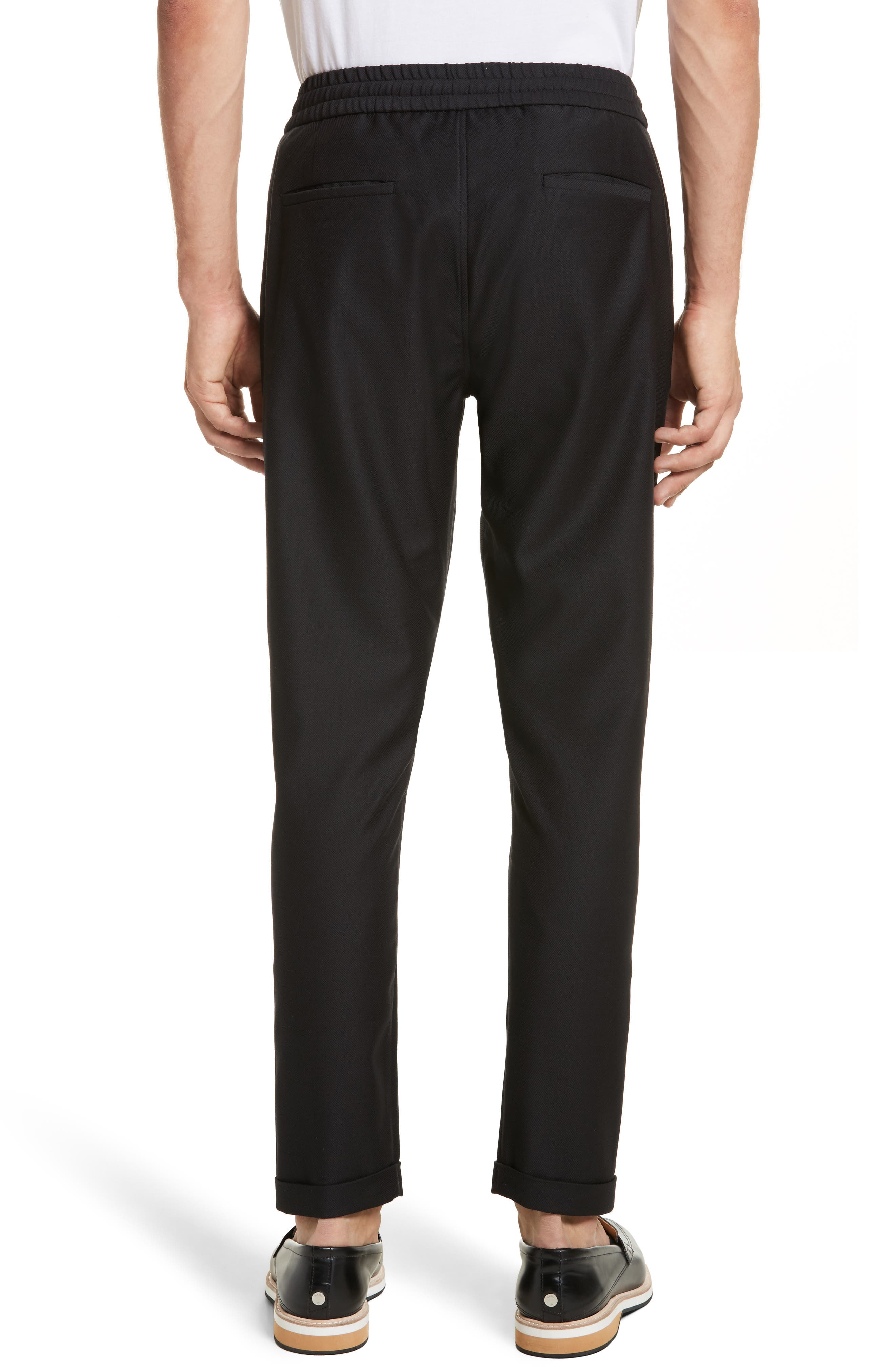Drawstring Wool Trousers,                             Alternate thumbnail 2, color,                             Black