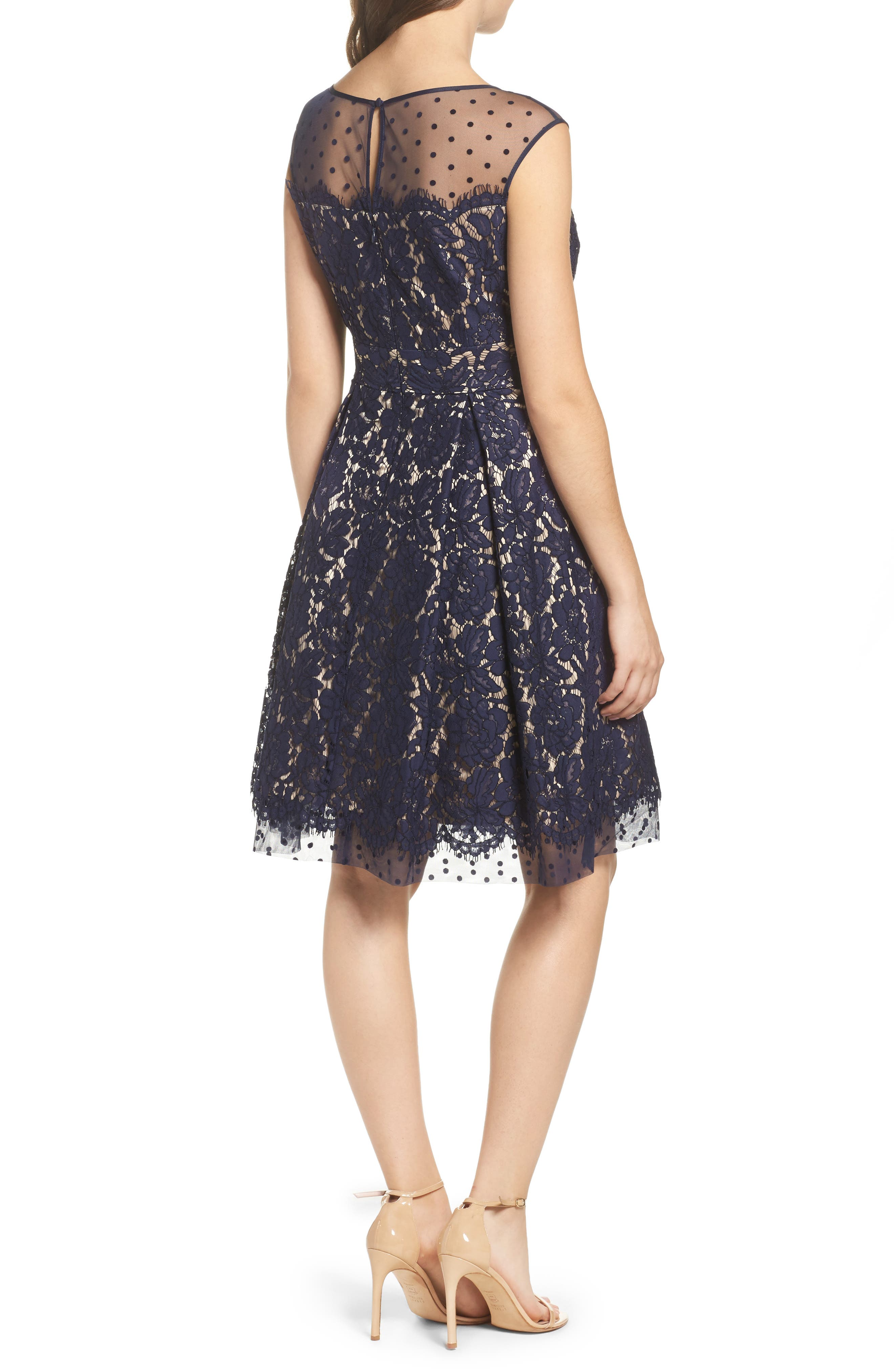 Alternate Image 2  - Eliza J Illusion Yoke Lace Fit & Flare Dress