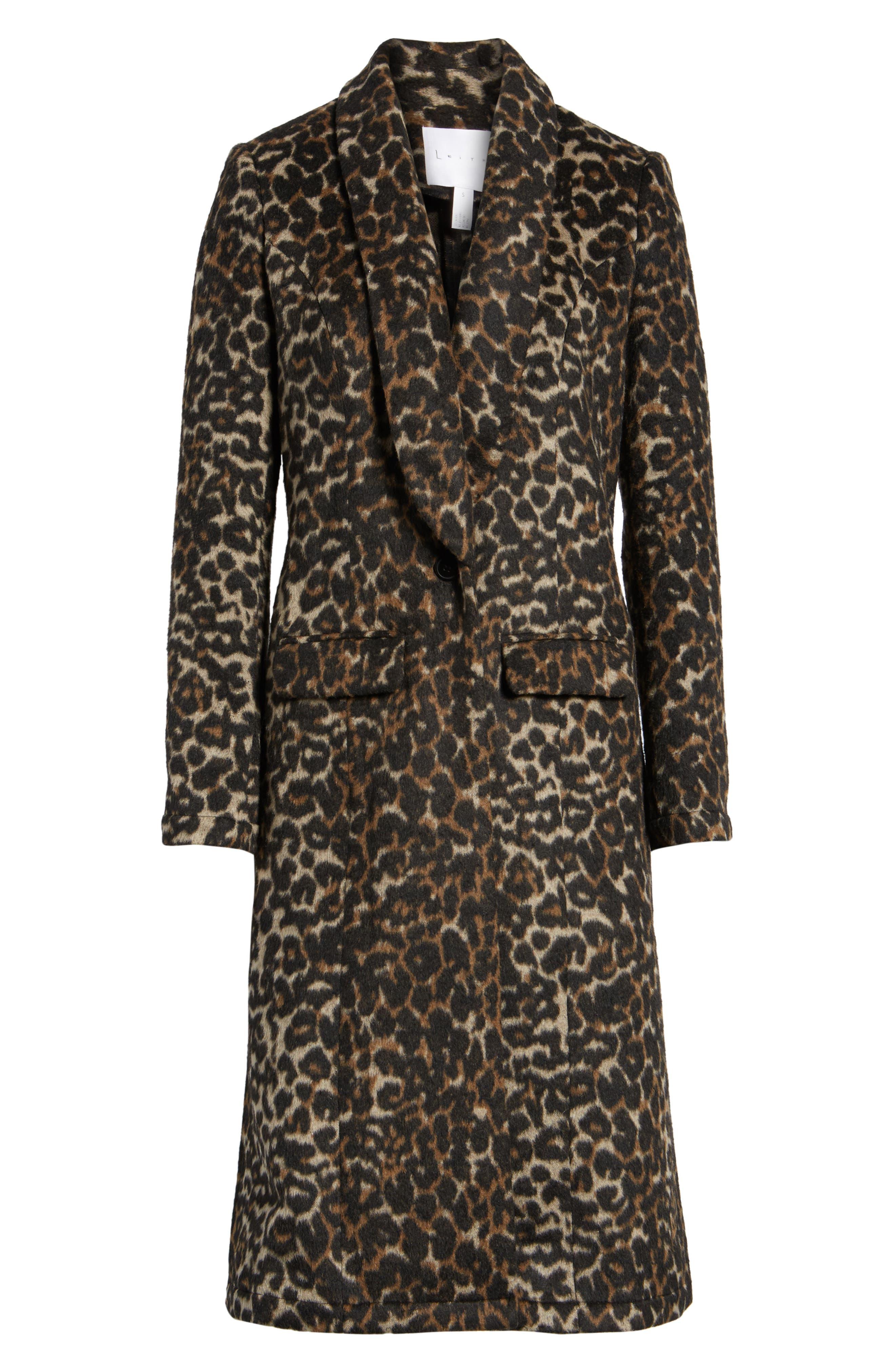 Longline Leopard Print Coat,                             Alternate thumbnail 6, color,                             Black Leopard