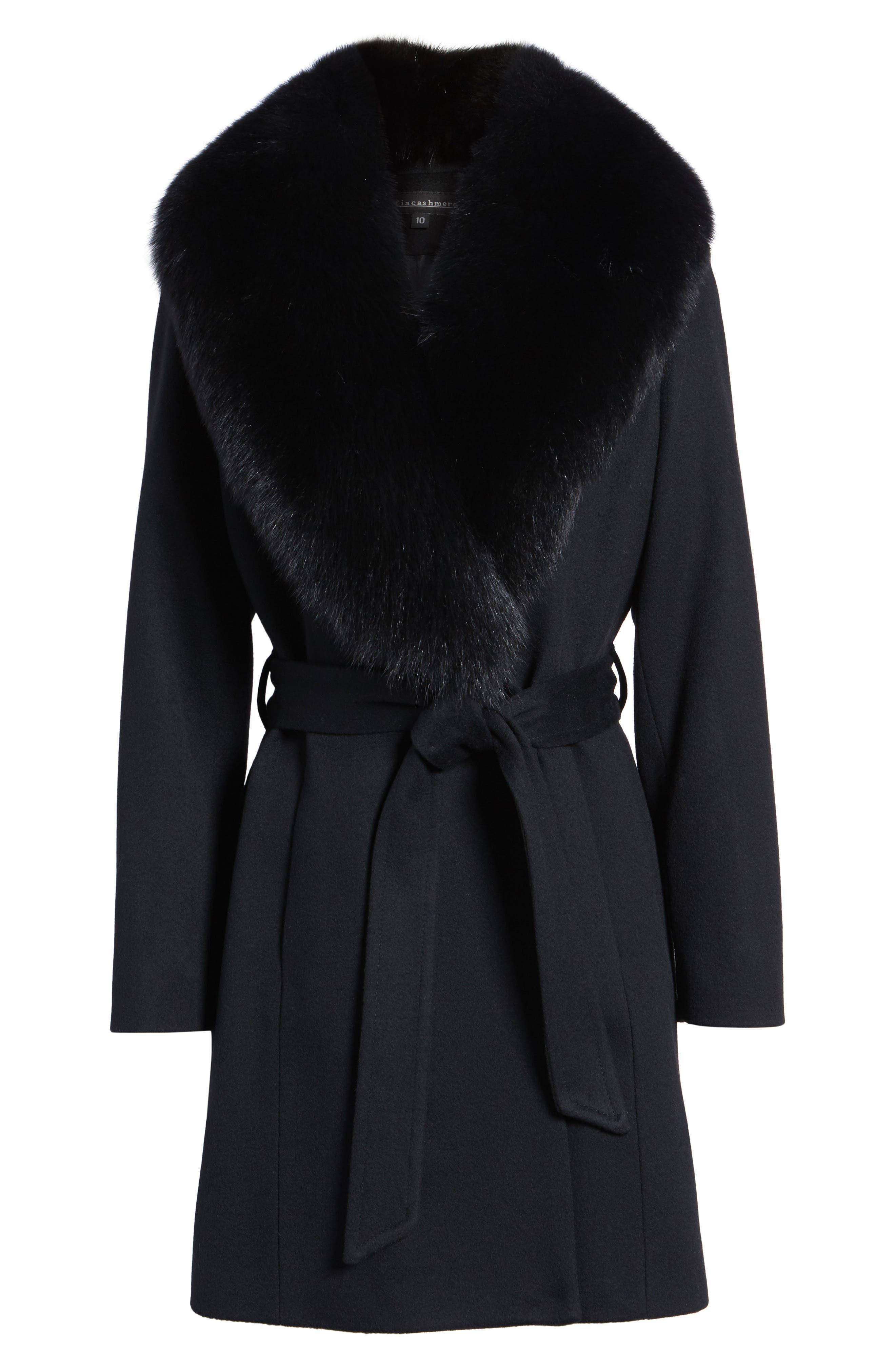 Genuine Fox Fur Lapel Wool & Cashmere Wrap Coat,                             Alternate thumbnail 6, color,                             Black