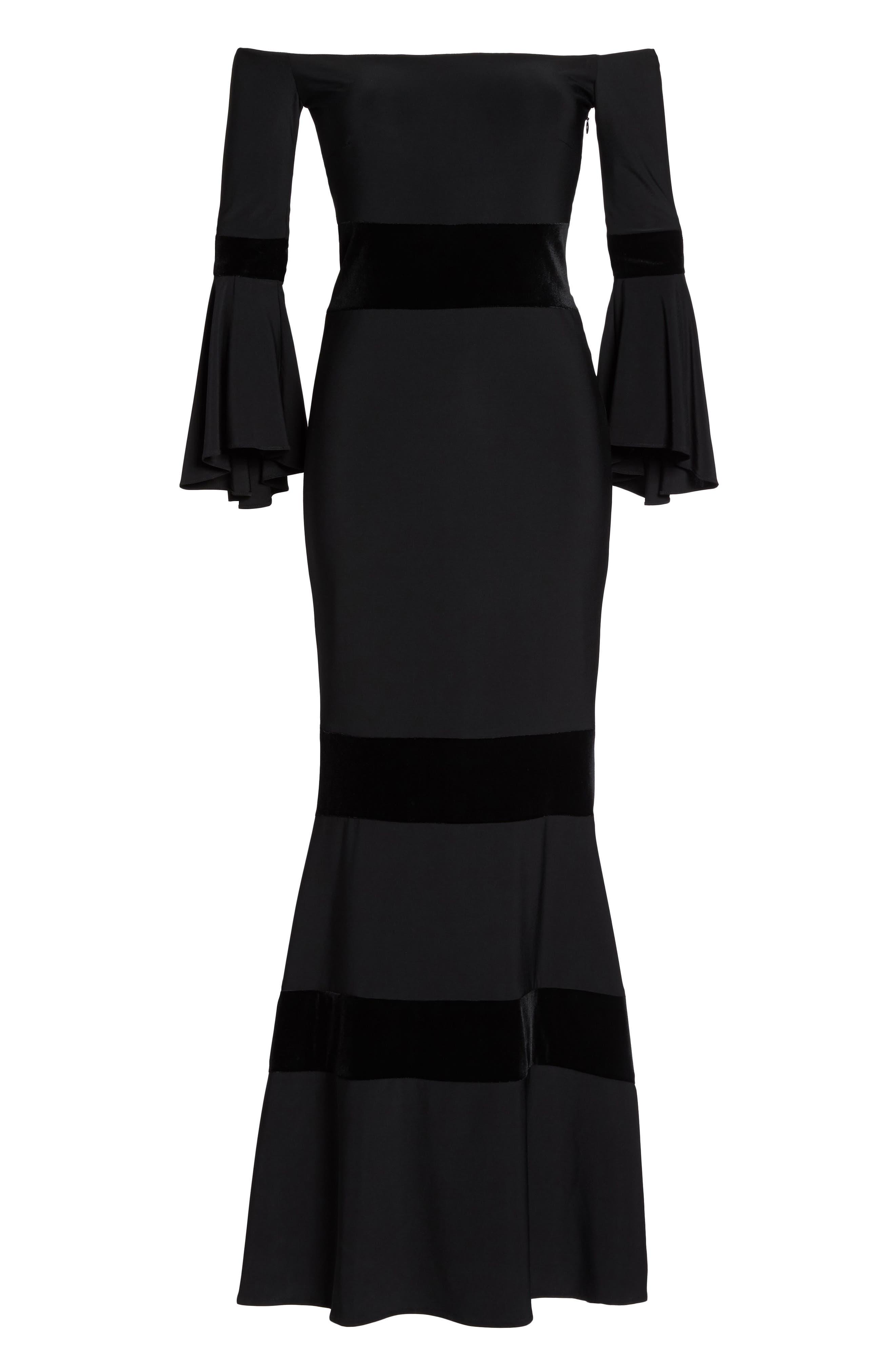 Velvet Trim Off the Shoulder Mermaid Dress,                             Alternate thumbnail 6, color,                             Black