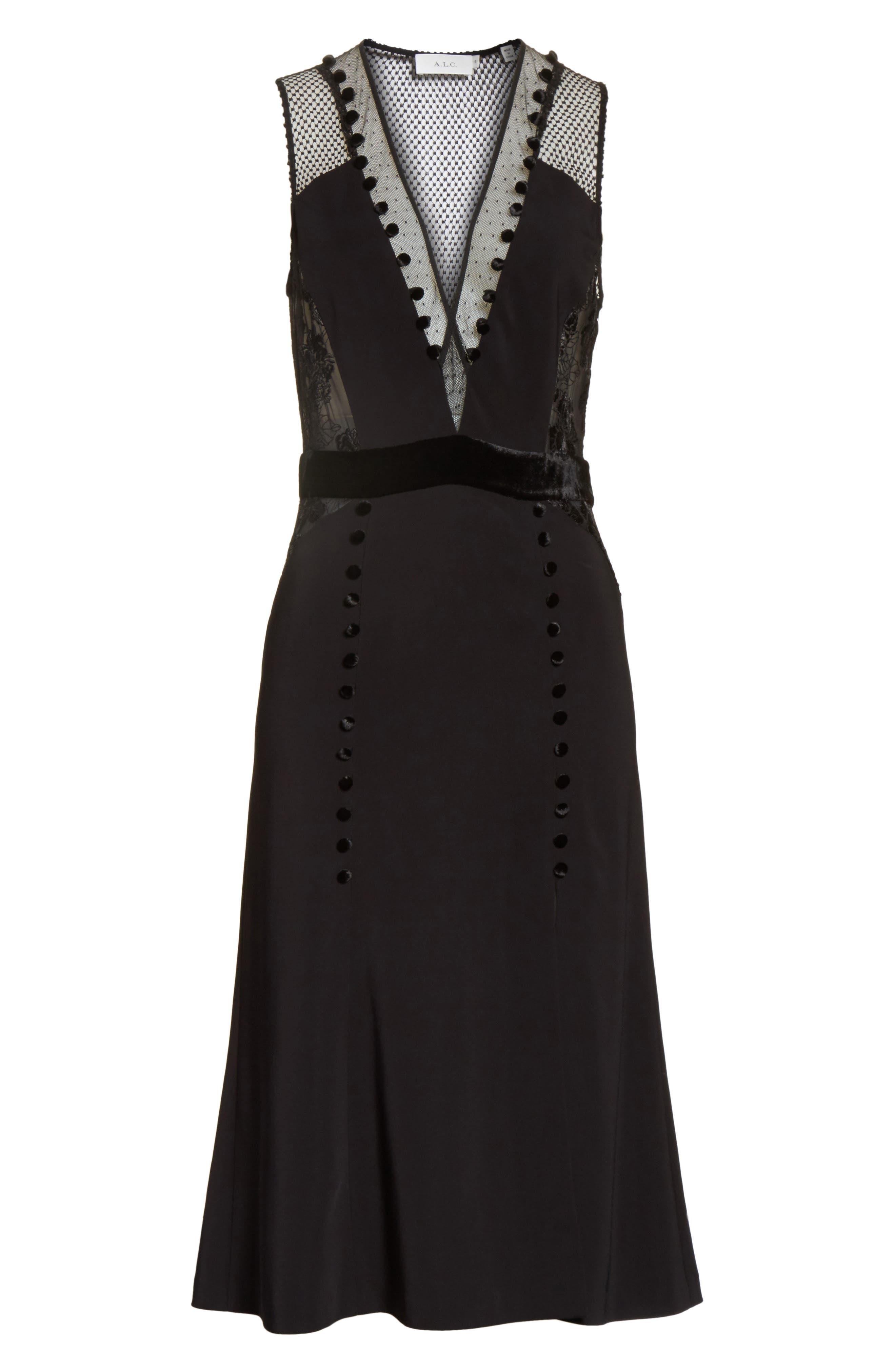 Harlow Velvet Button Dress,                             Alternate thumbnail 6, color,                             Black