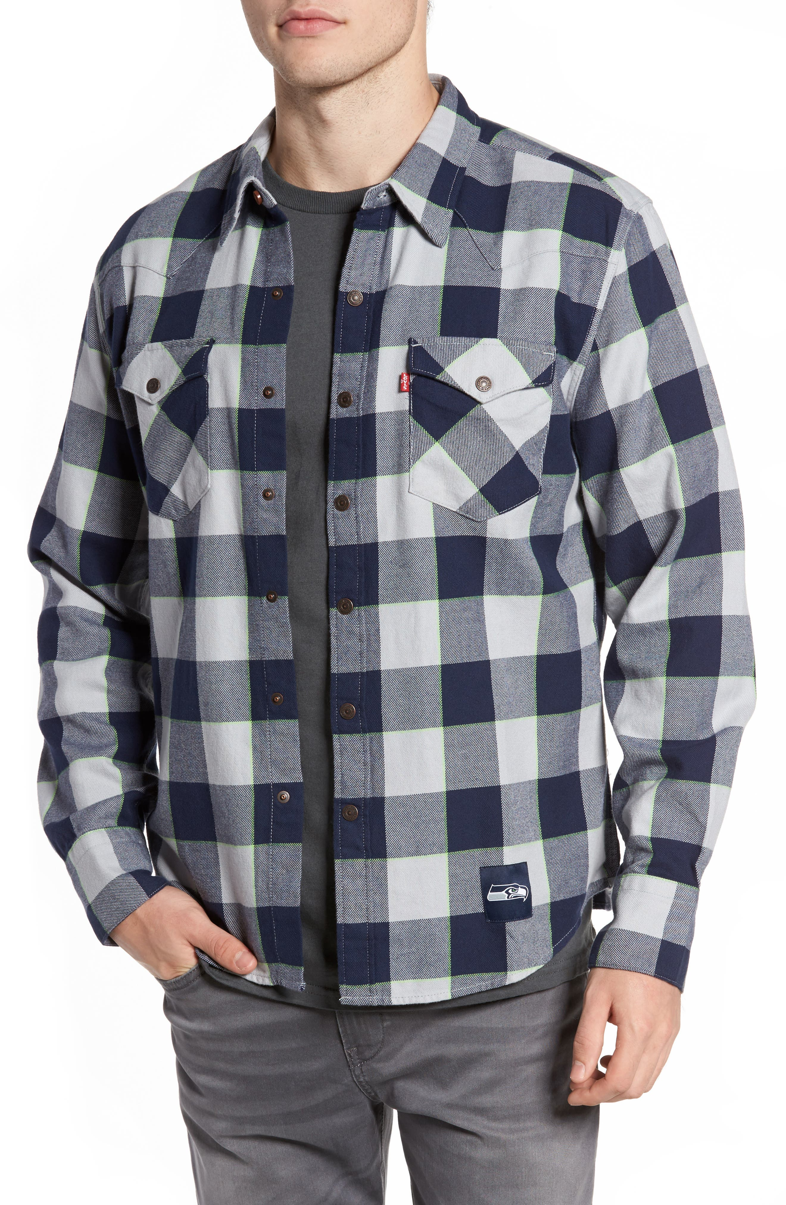 Alternate Image 1 Selected - Levi's® NFL Seahawks - Barstow Plaid Western Shirt