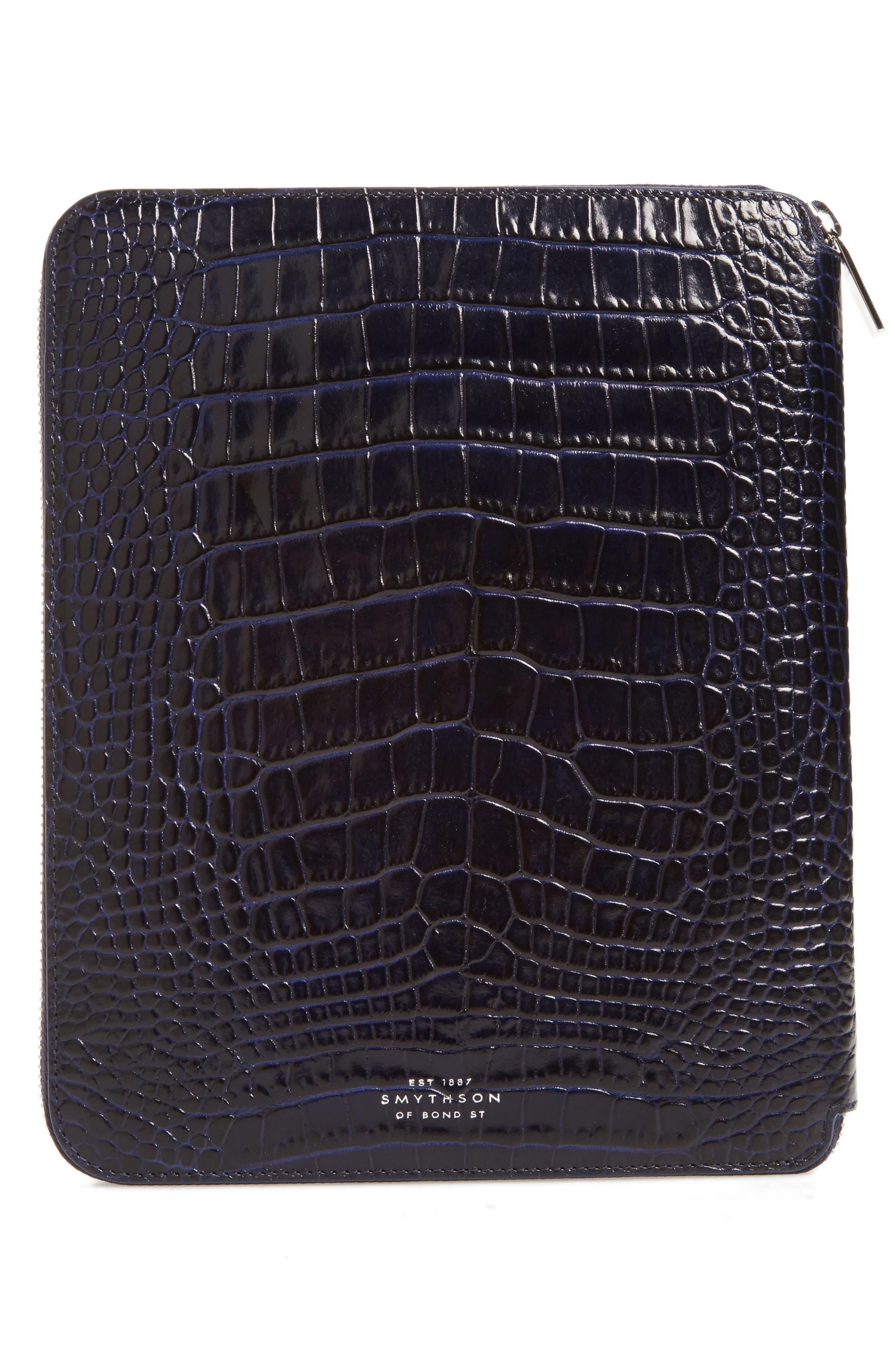 Alternate Image 3  - Smythson Mara Croc Embossed Zip Folder & A5 Notebook
