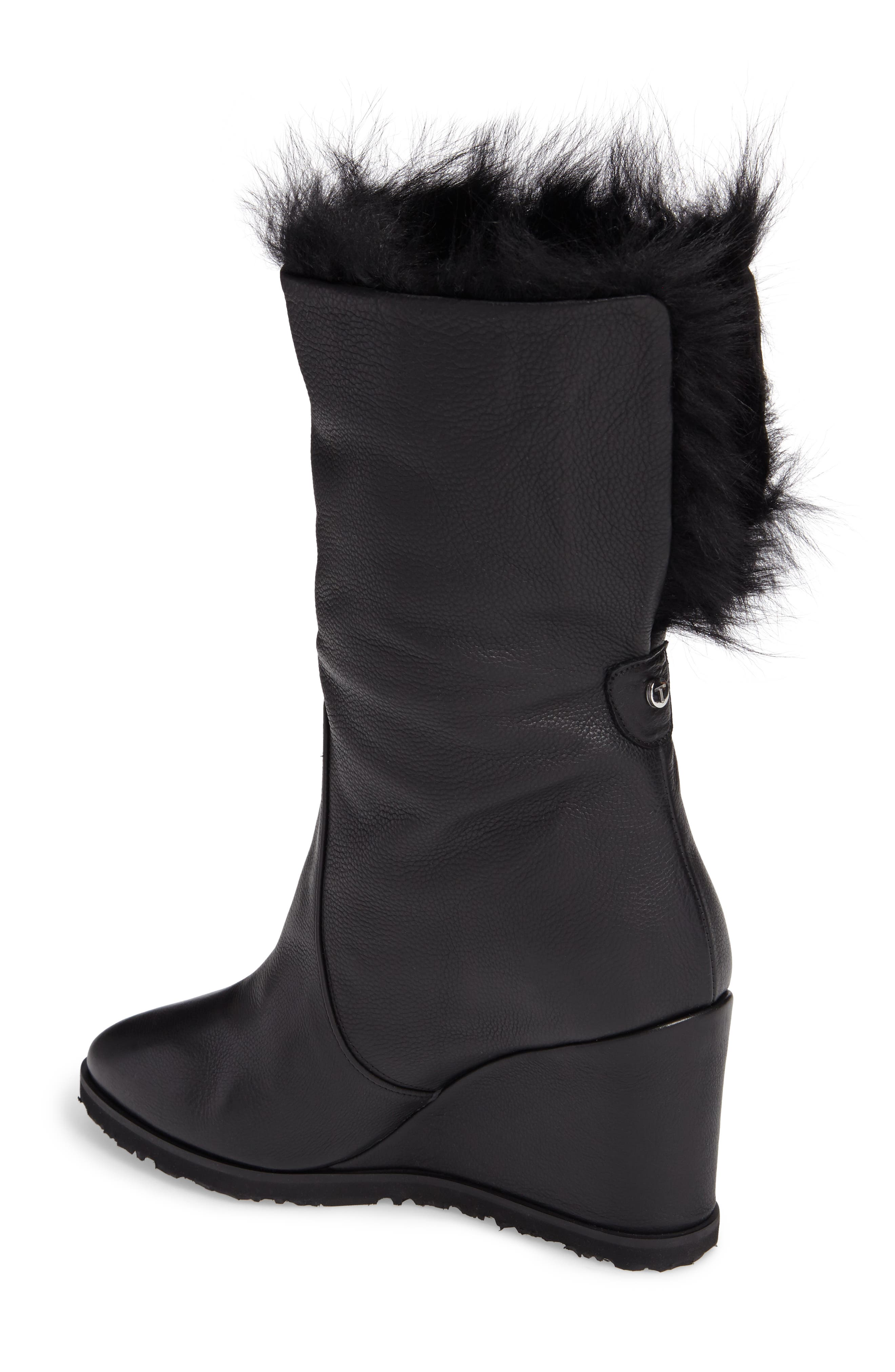 Massima Genuine Shearling Wedge Boot,                             Alternate thumbnail 2, color,                             Black Leather