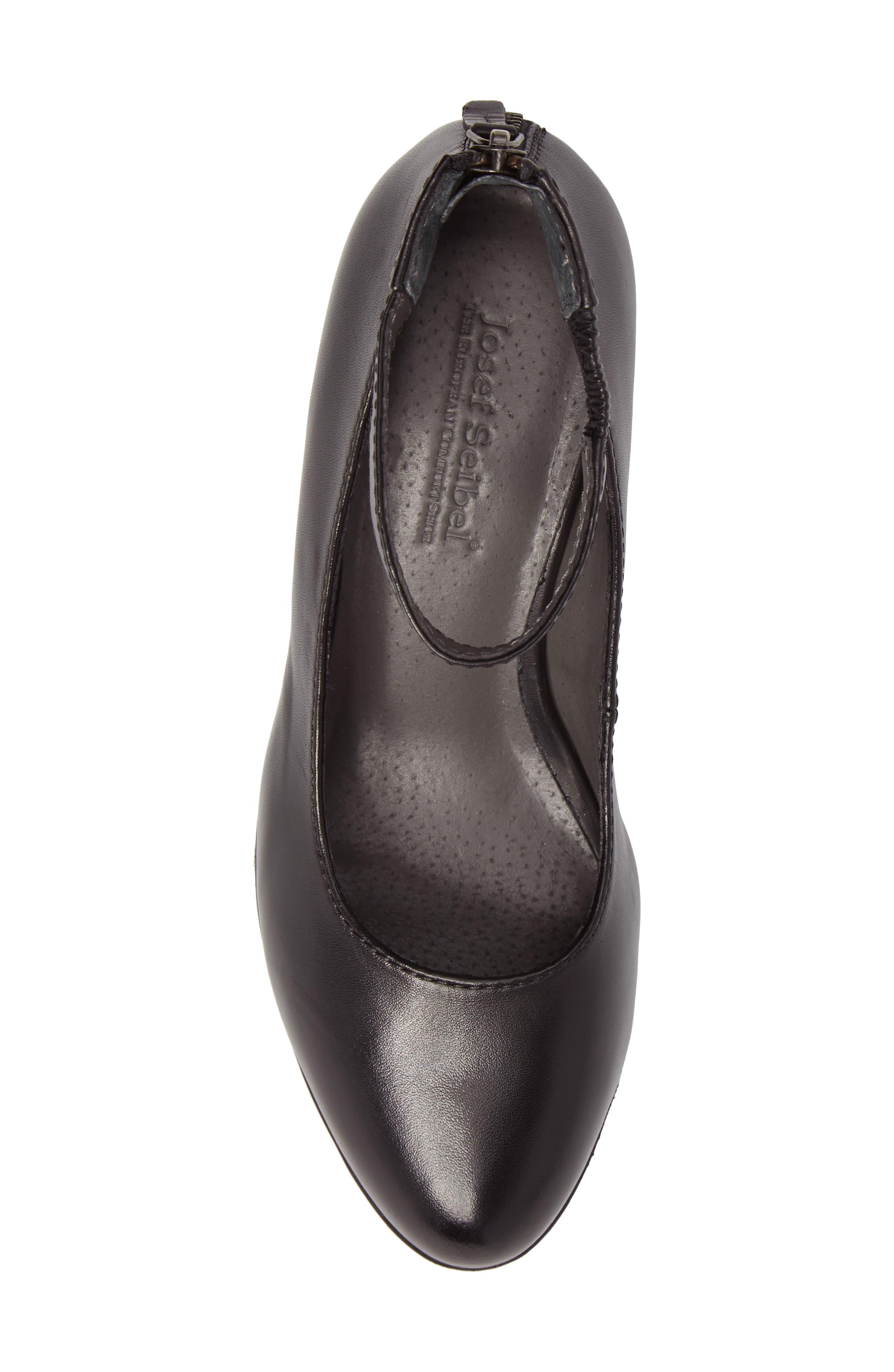 Sue 09 Ankle Strap Pump,                             Alternate thumbnail 5, color,                             Black Leather