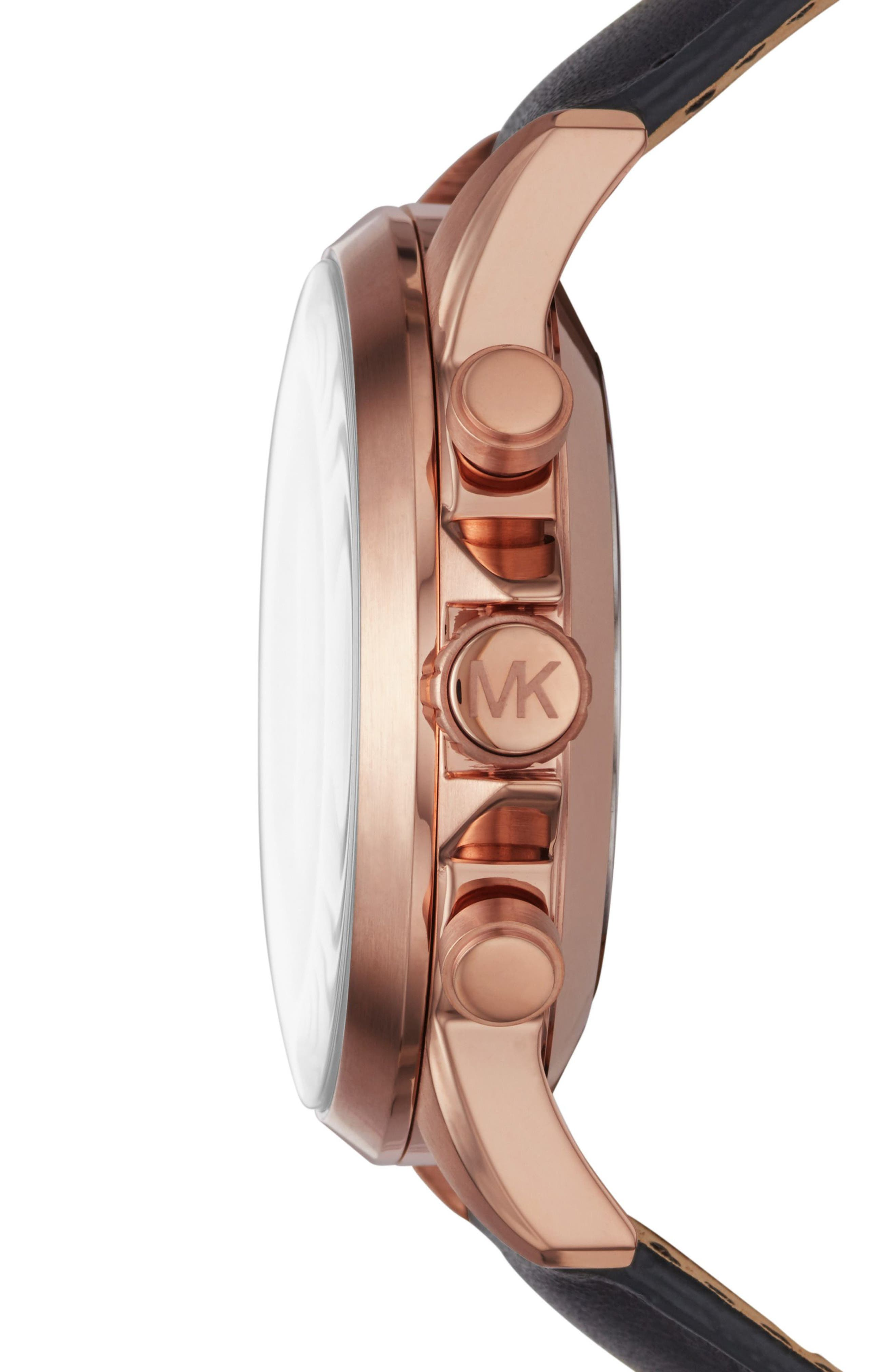 Michael Kors Gage Leather Strap Smart Watch, 45mm,                             Alternate thumbnail 3, color,                             Black/ Rose Gold
