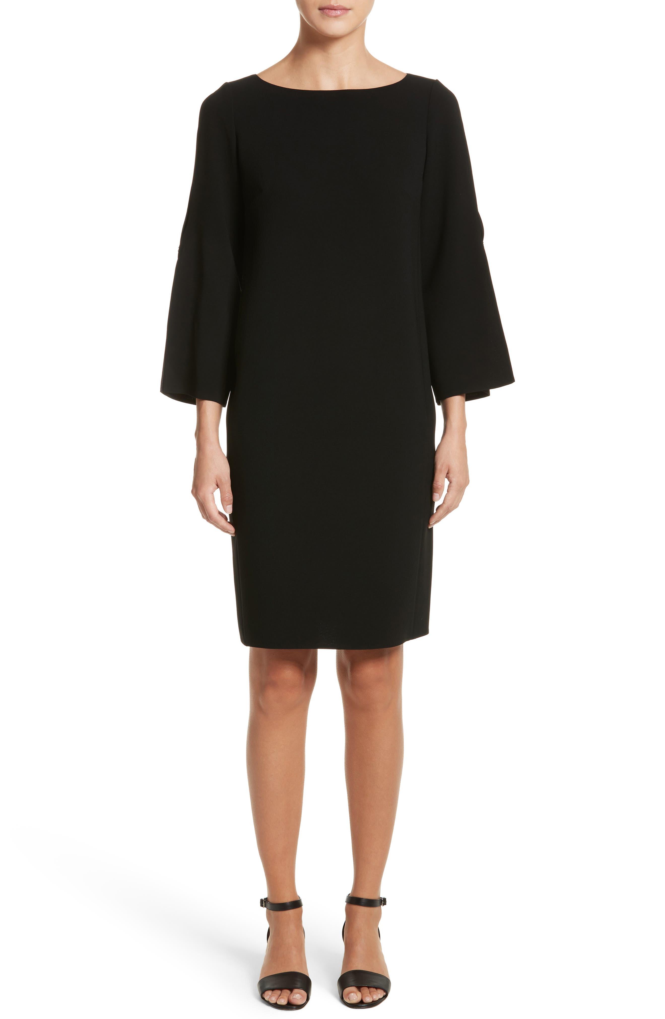 Candace Finesse Crepe Shift Dress,                             Main thumbnail 1, color,                             Black