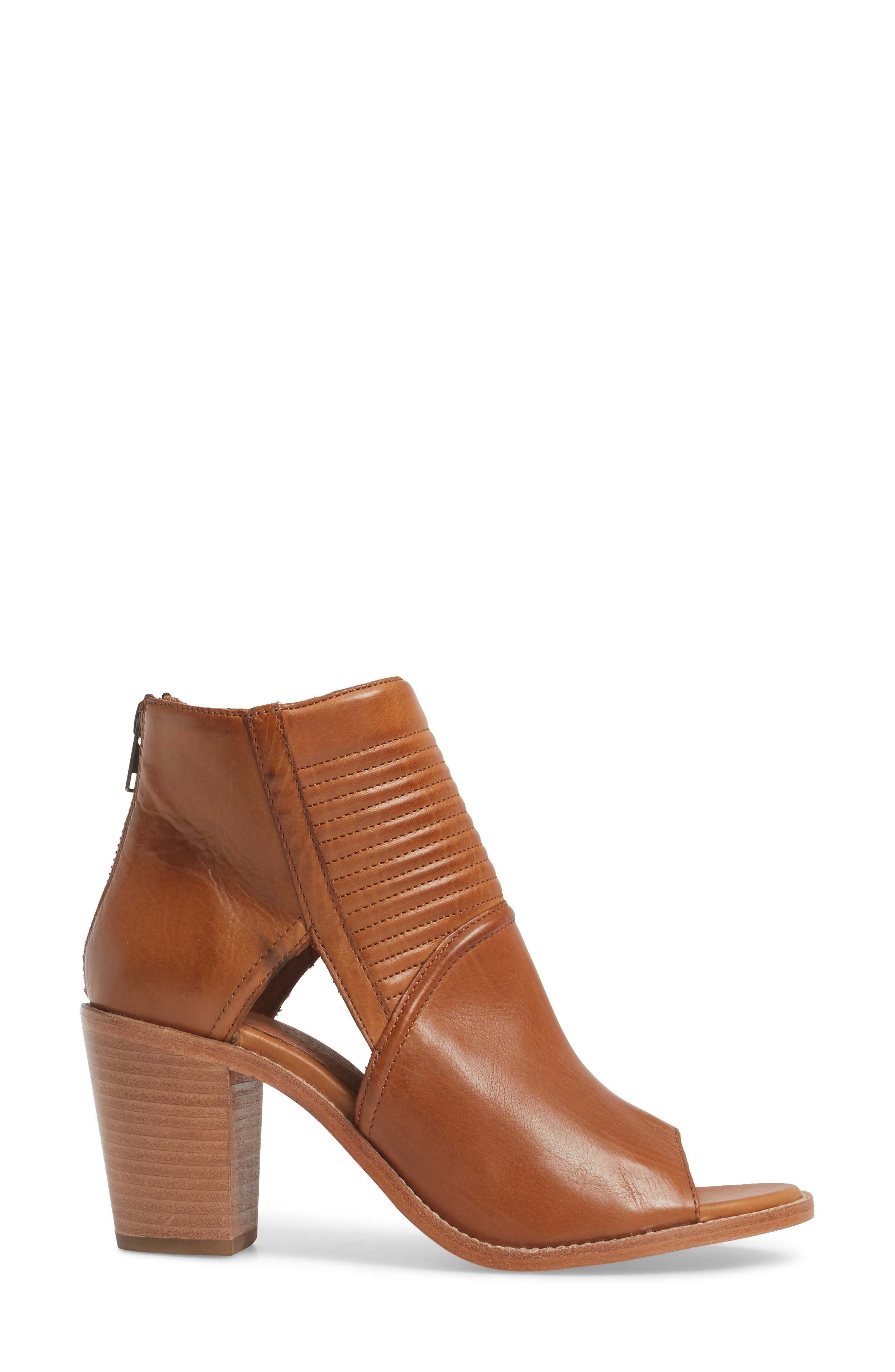 Bailey Quilted Peep Toe Bootie,                             Alternate thumbnail 3, color,                             Cognac