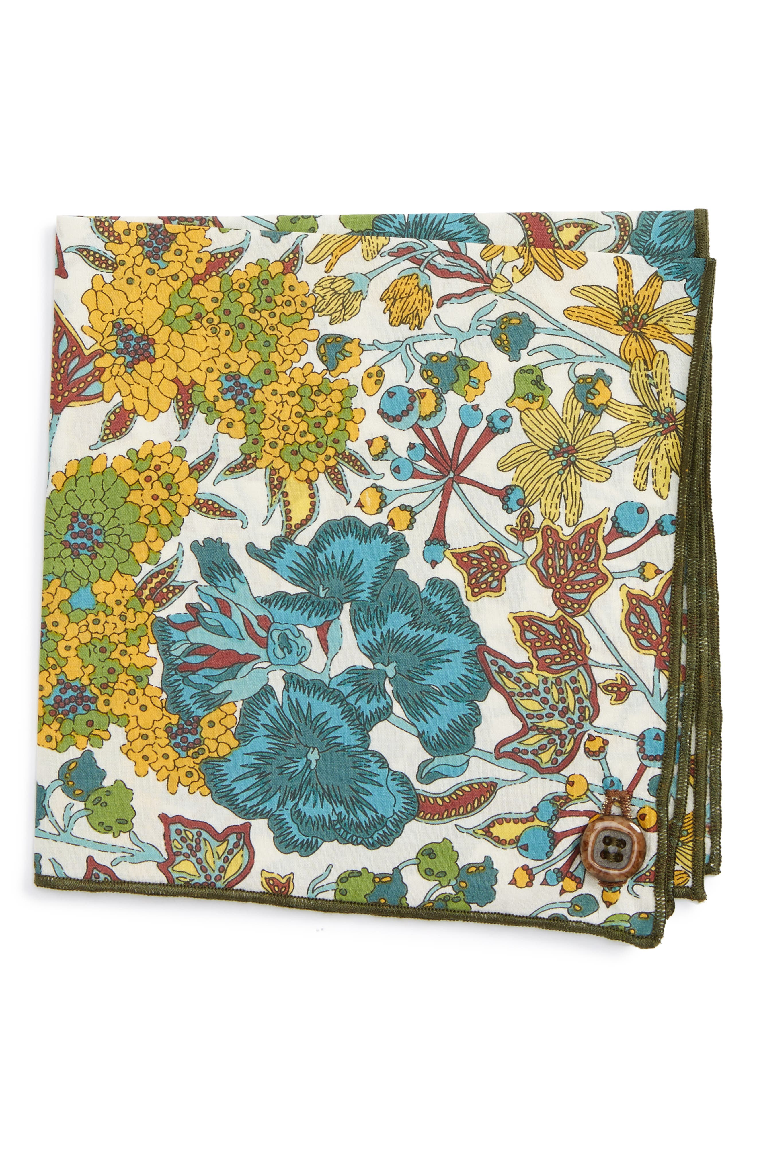 Flower Pot Cotton Pocket Square,                             Main thumbnail 1, color,                             Teal