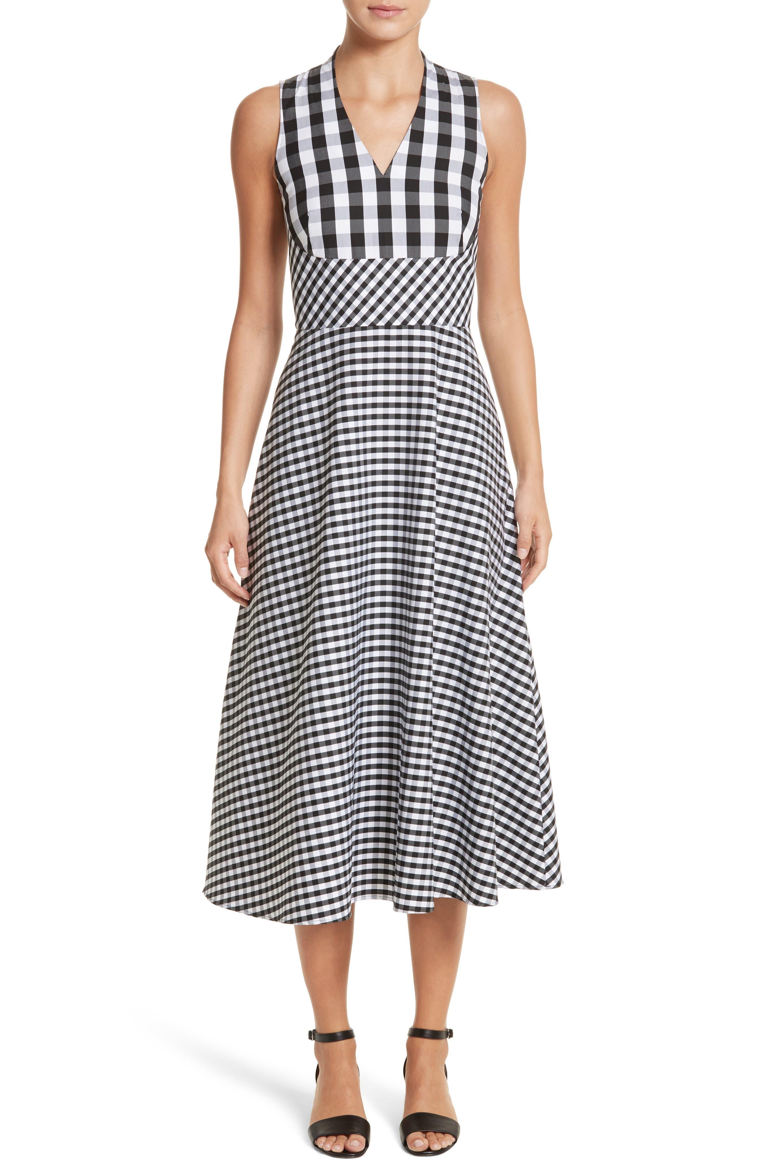 Adina Gingham Midi Dress,                         Main,                         color, Black Multi