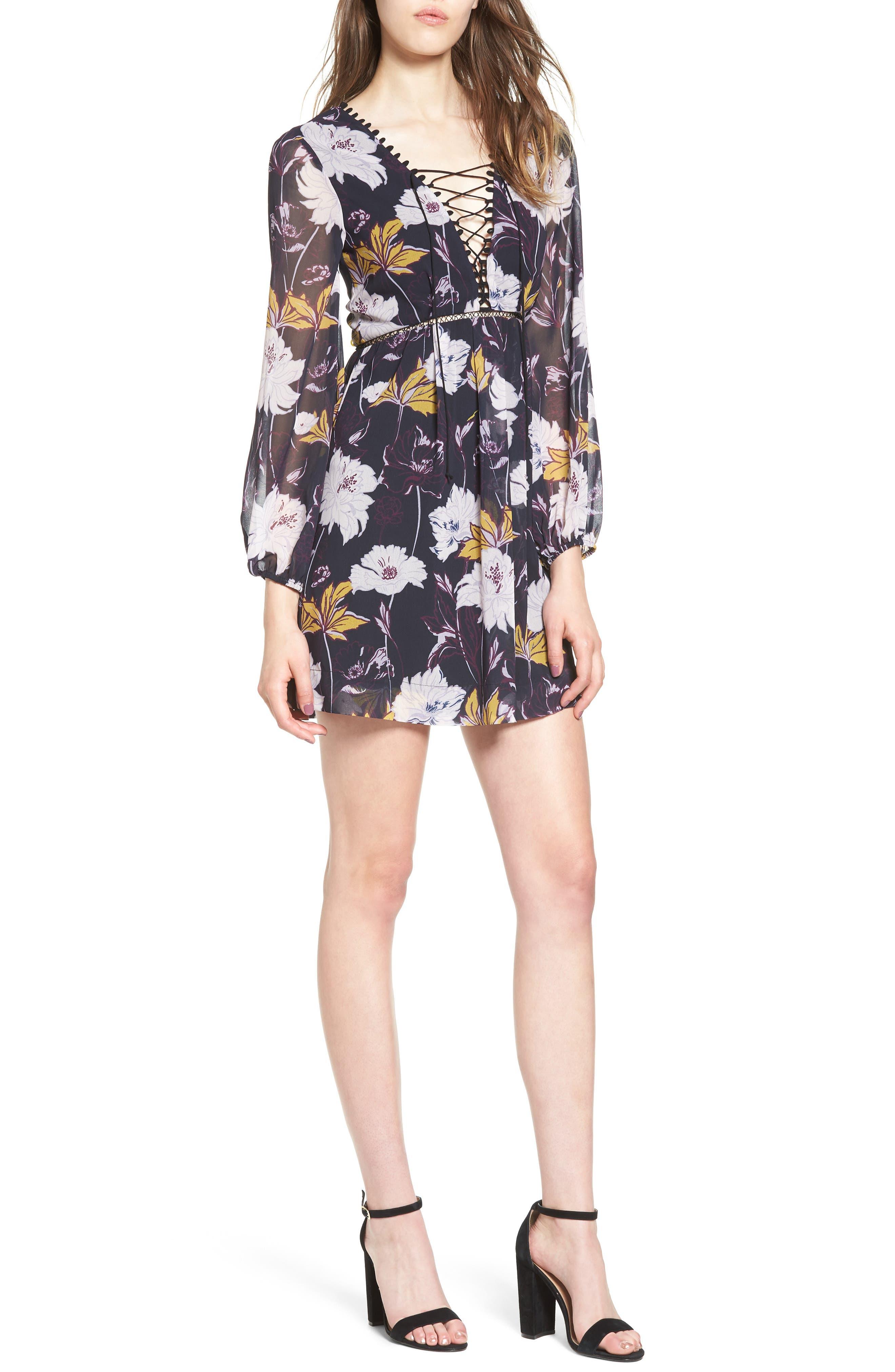 Floral Haze Minidress,                             Main thumbnail 1, color,                             Black