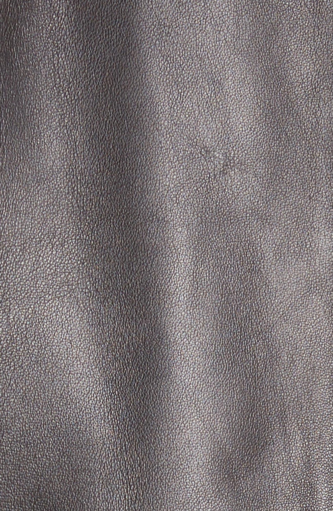 Plongé Leather Bolero Jacket,                             Alternate thumbnail 5, color,                             Black